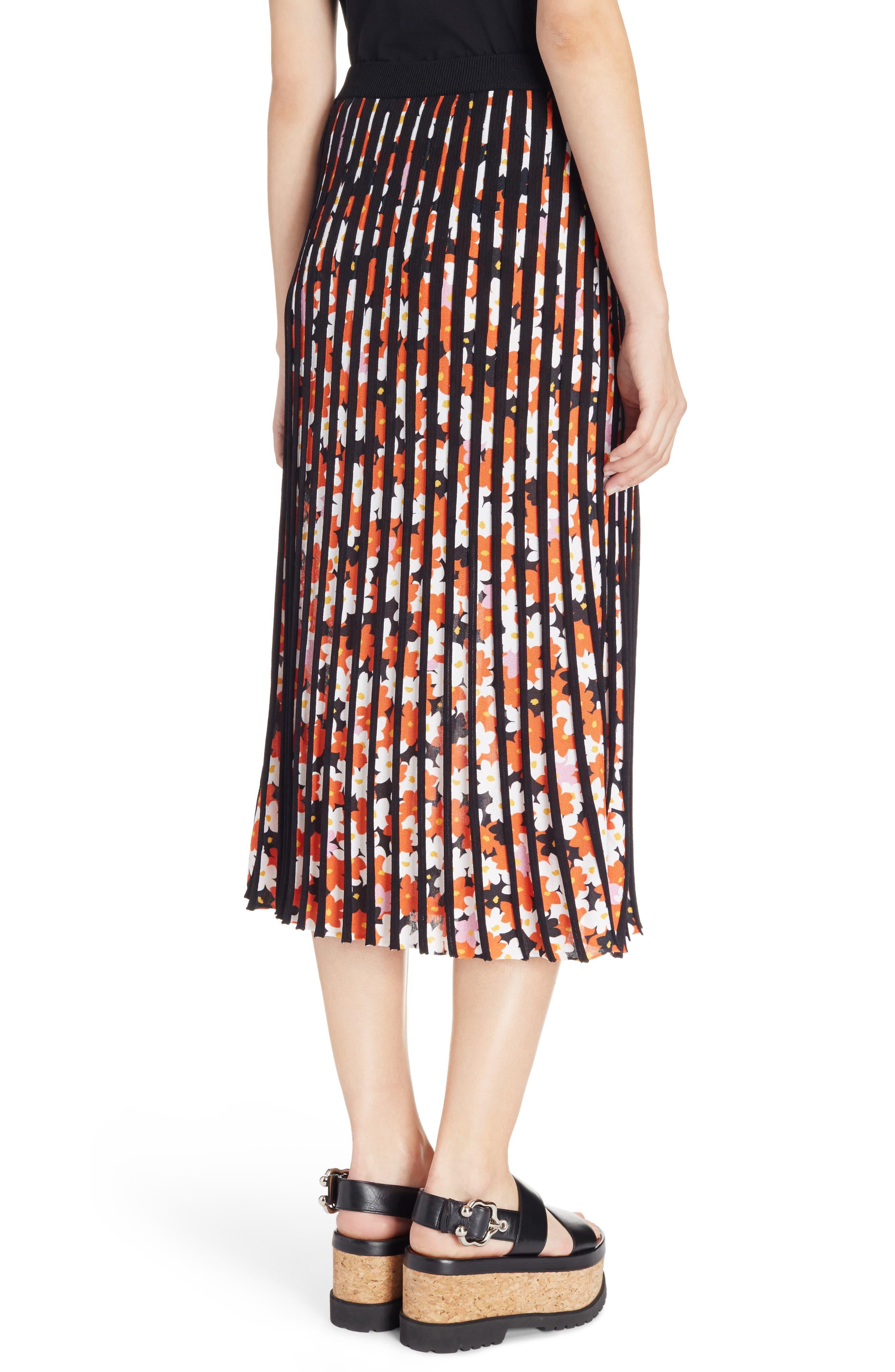 Knit Pleated Midi Skirt,                             Alternate thumbnail 2, color,                             001