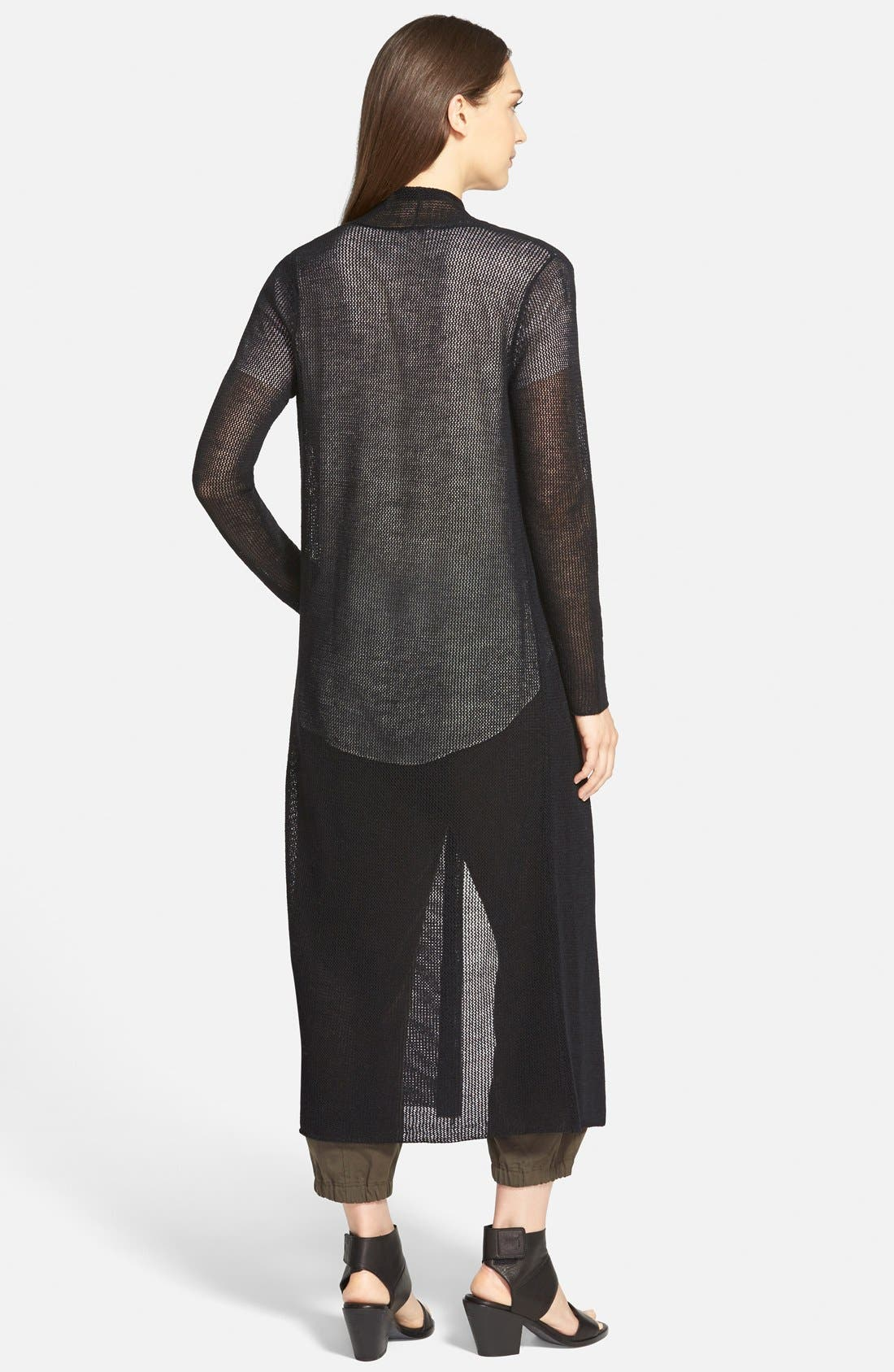 EILEEN FISHER,                             Wool Mesh Long Cardigan,                             Alternate thumbnail 2, color,                             001