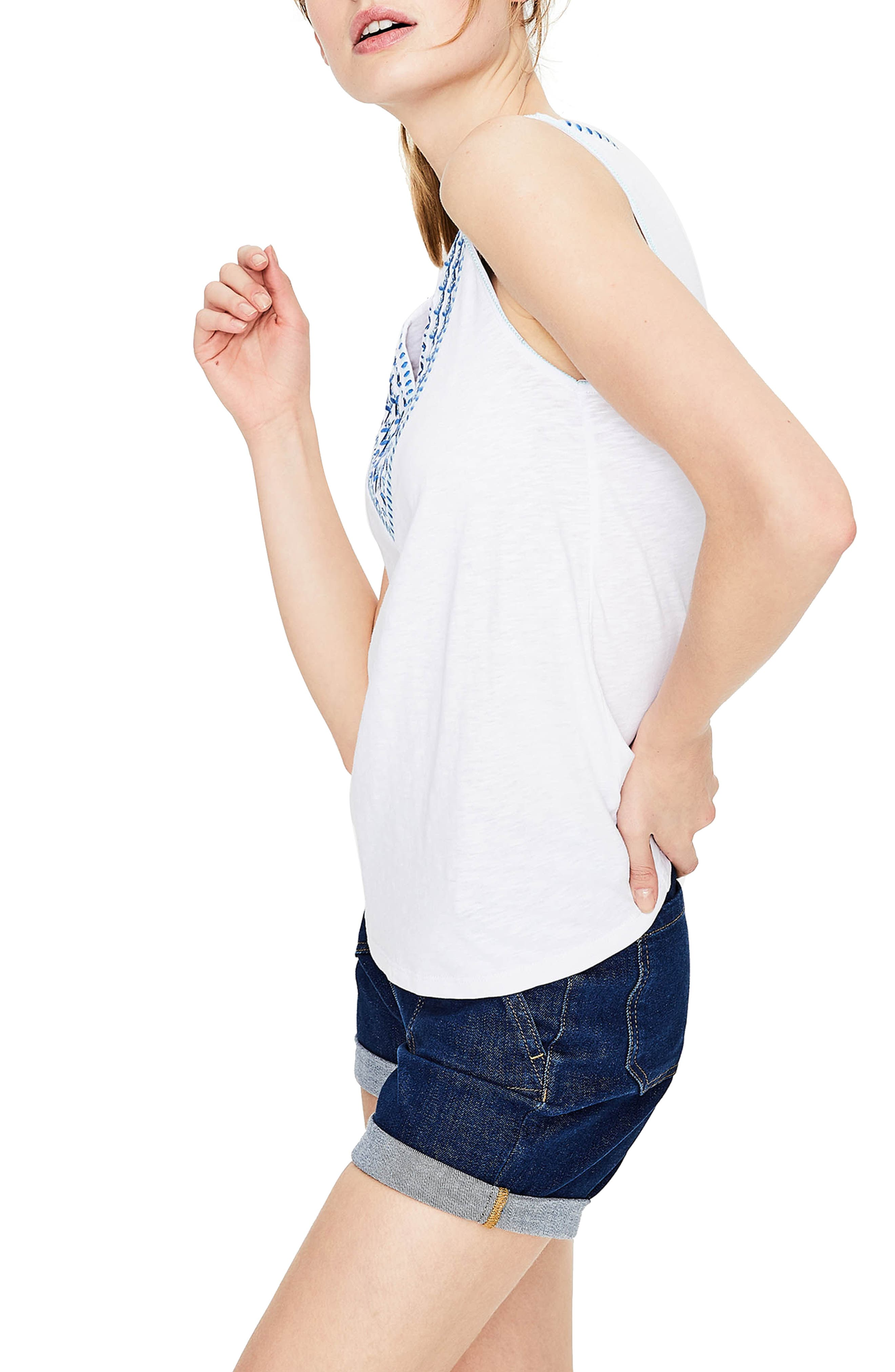 BODEN,                             Embroidered Tank,                             Alternate thumbnail 3, color,                             100