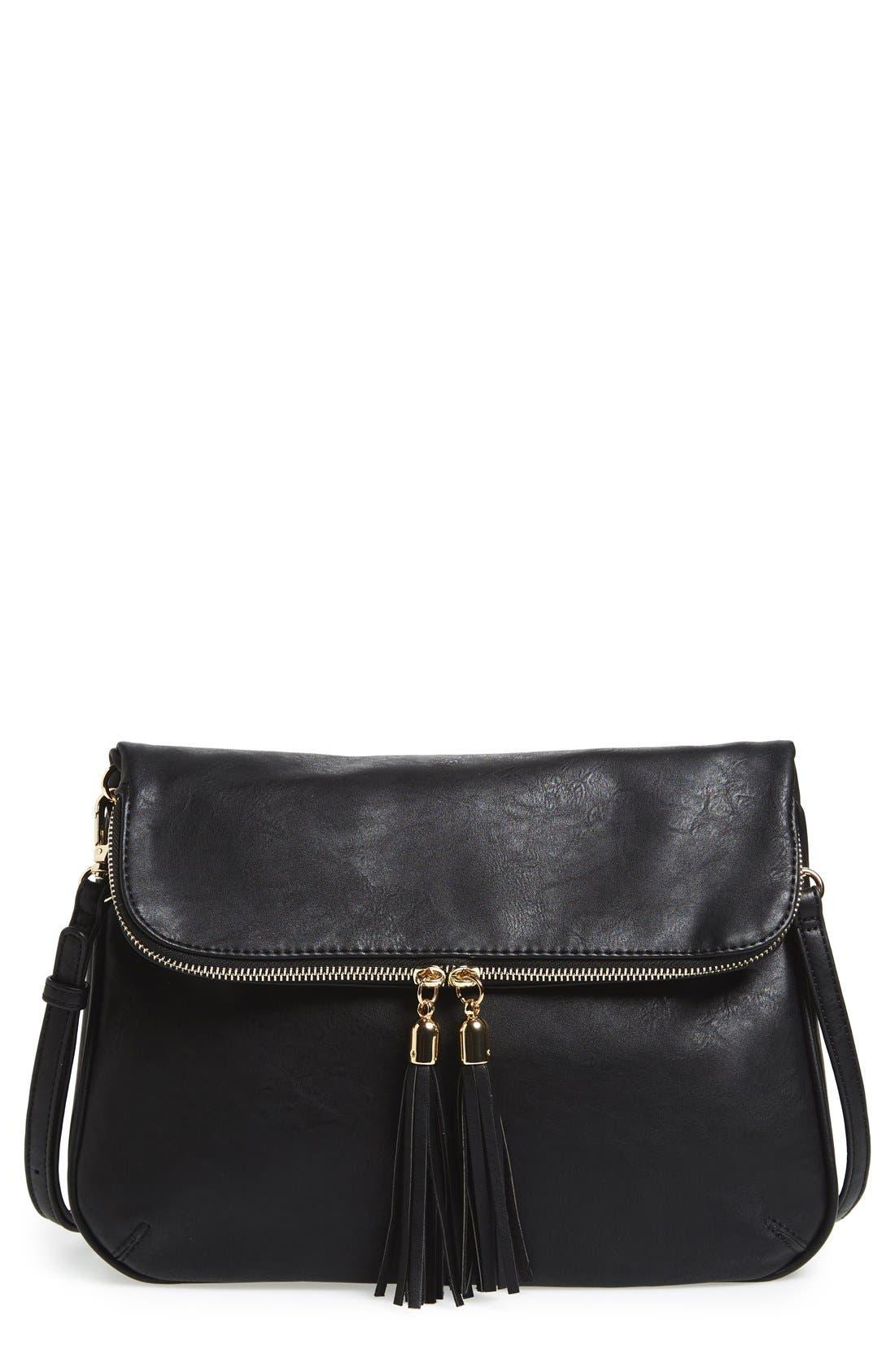 Foldover Crossbody Bag,                         Main,                         color, 001