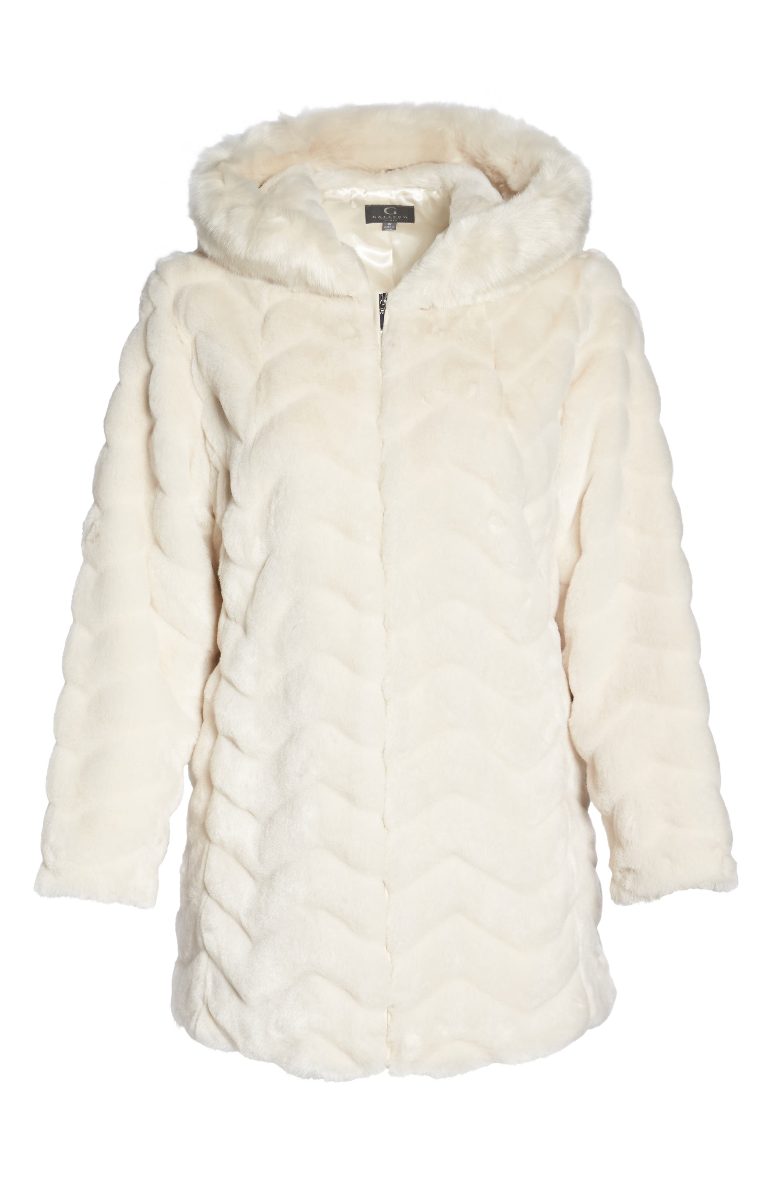 Hooded Chevron Faux Fur Coat,                             Alternate thumbnail 5, color,                             901
