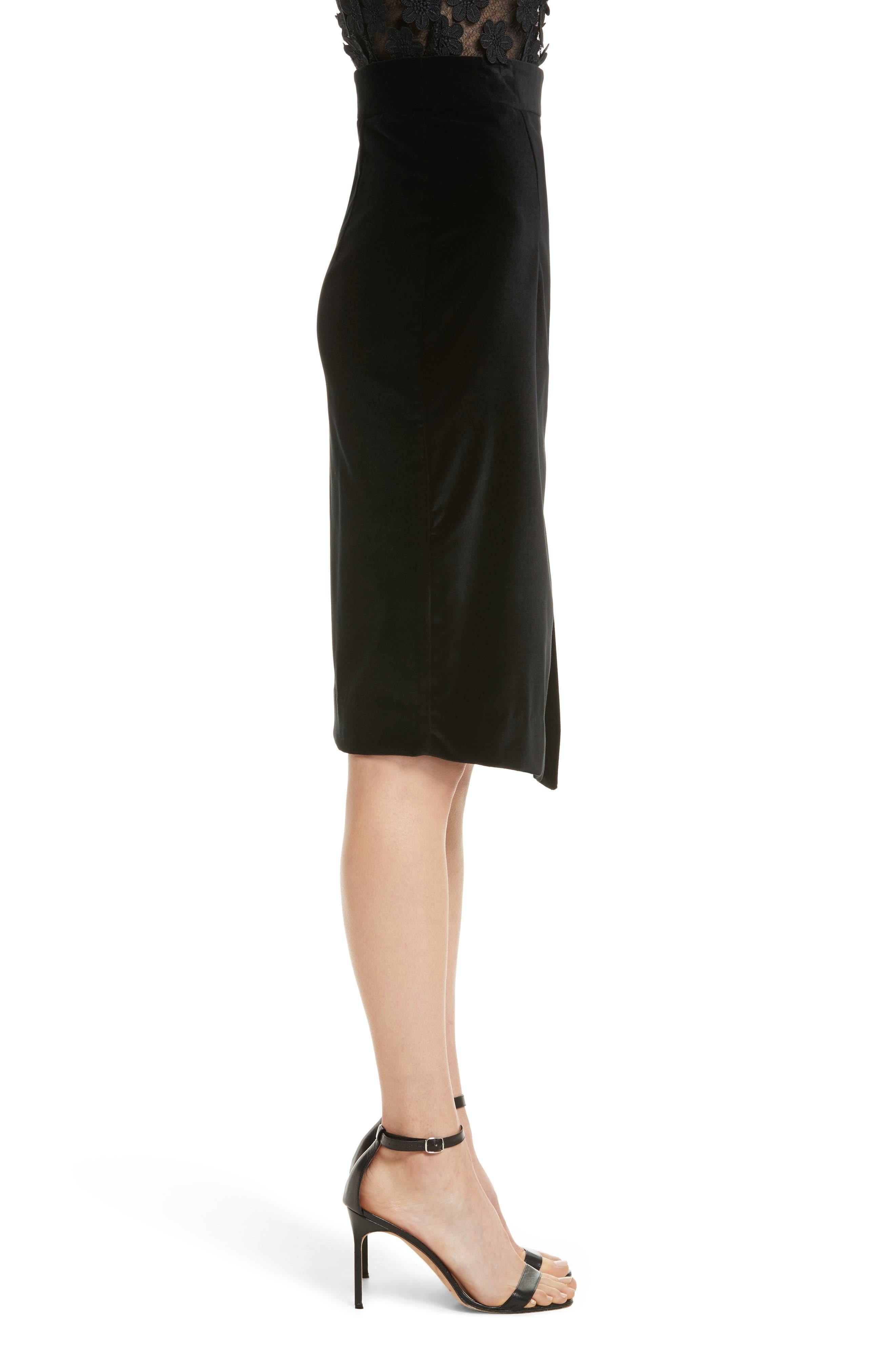 Robin Velveteen Faux Wrap Skirt,                             Alternate thumbnail 3, color,                             001