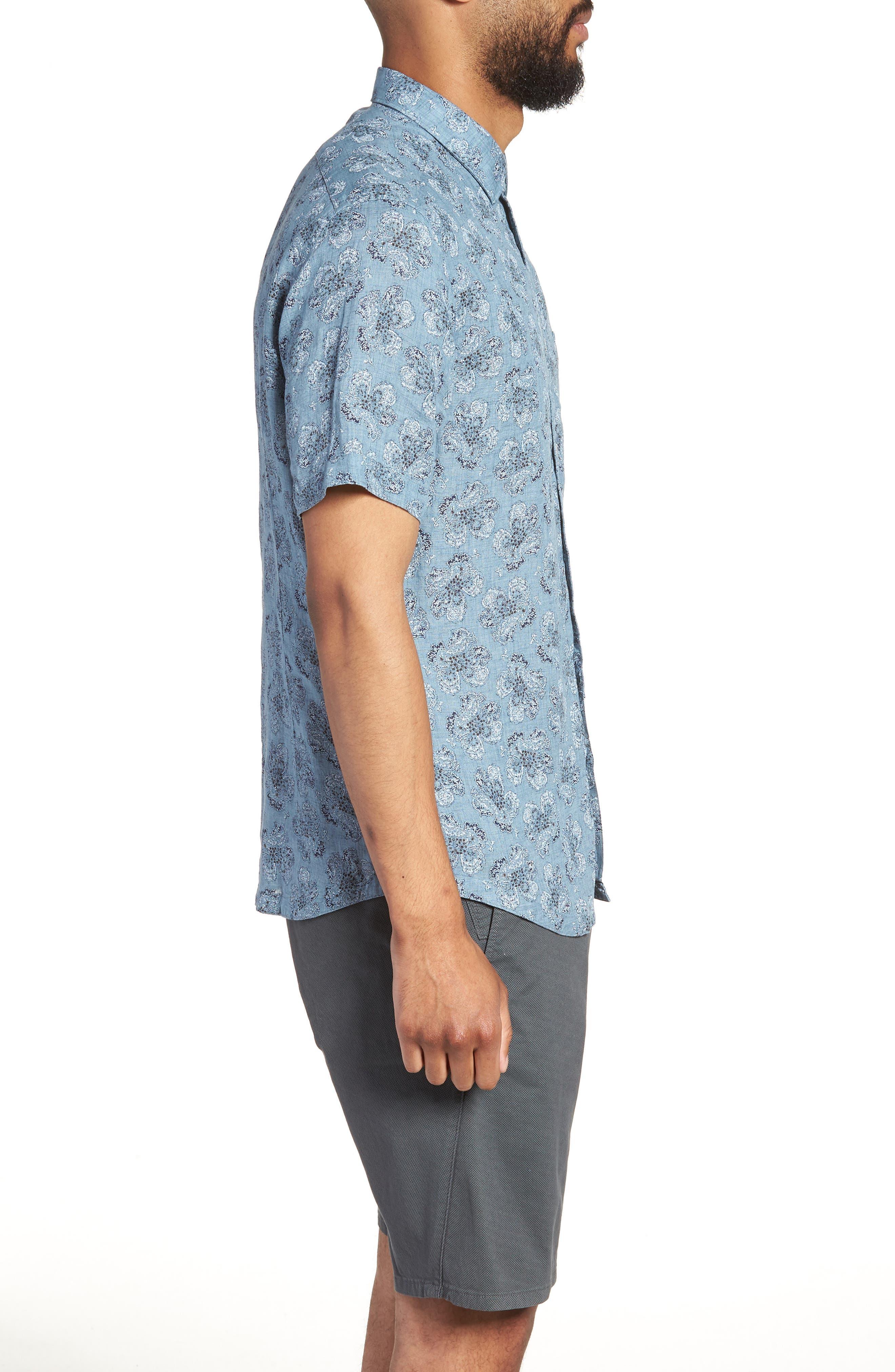 Tokyo Slim Fit Floral Short Sleeve Sport Shirt,                             Alternate thumbnail 3, color,                             INDIGO
