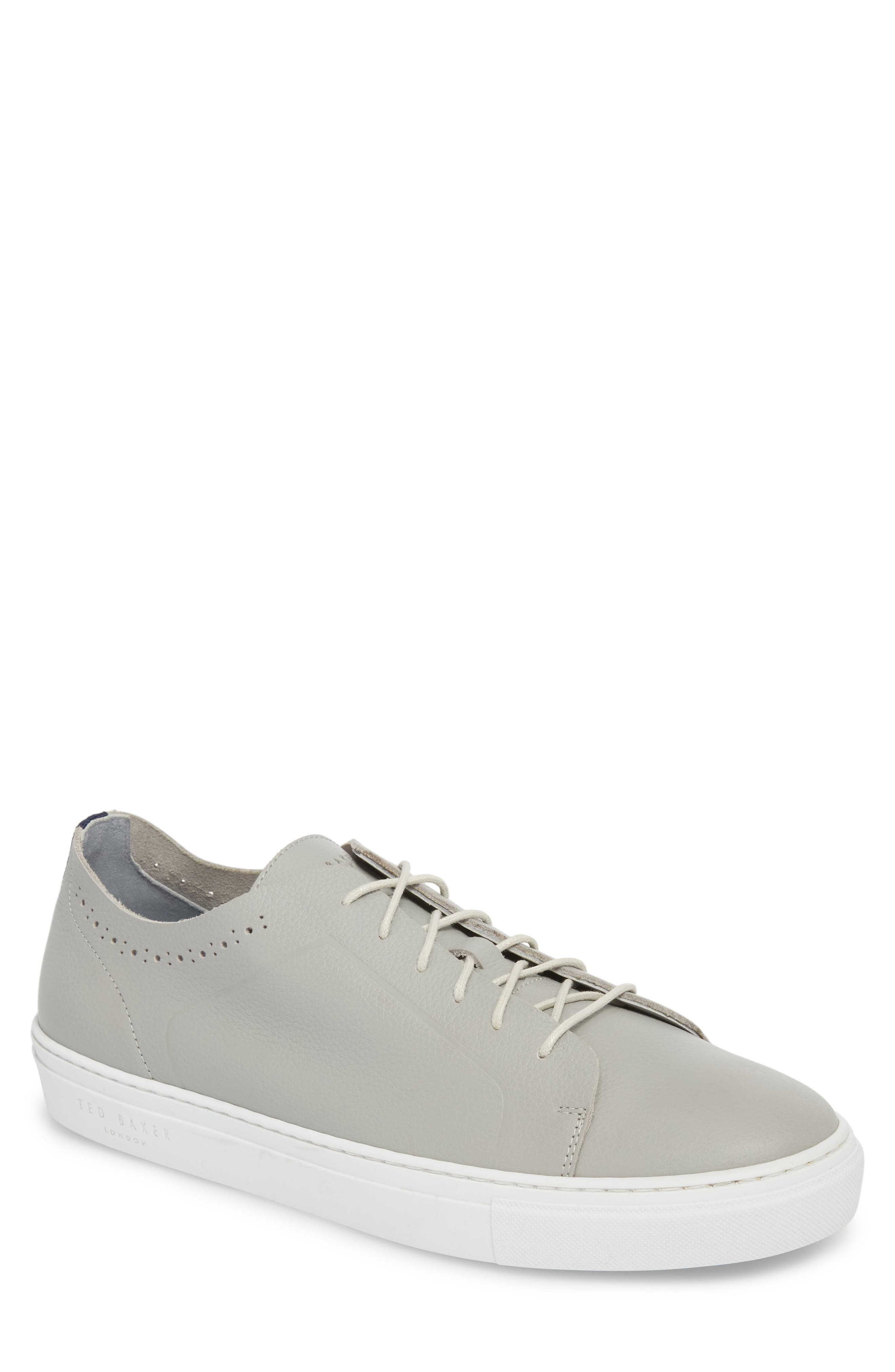 Nowull Brogued Sneaker,                             Main thumbnail 1, color,                             LIGHT GREY LEATHER