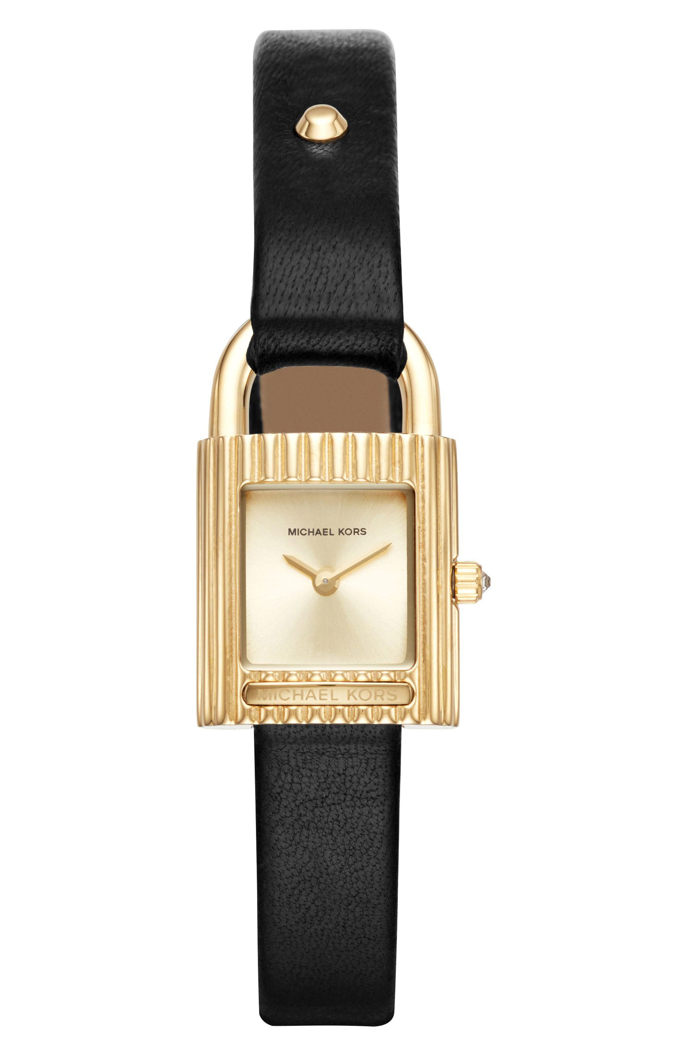 Isadore Leather Strap Watch, 22mm,                         Main,                         color, 001