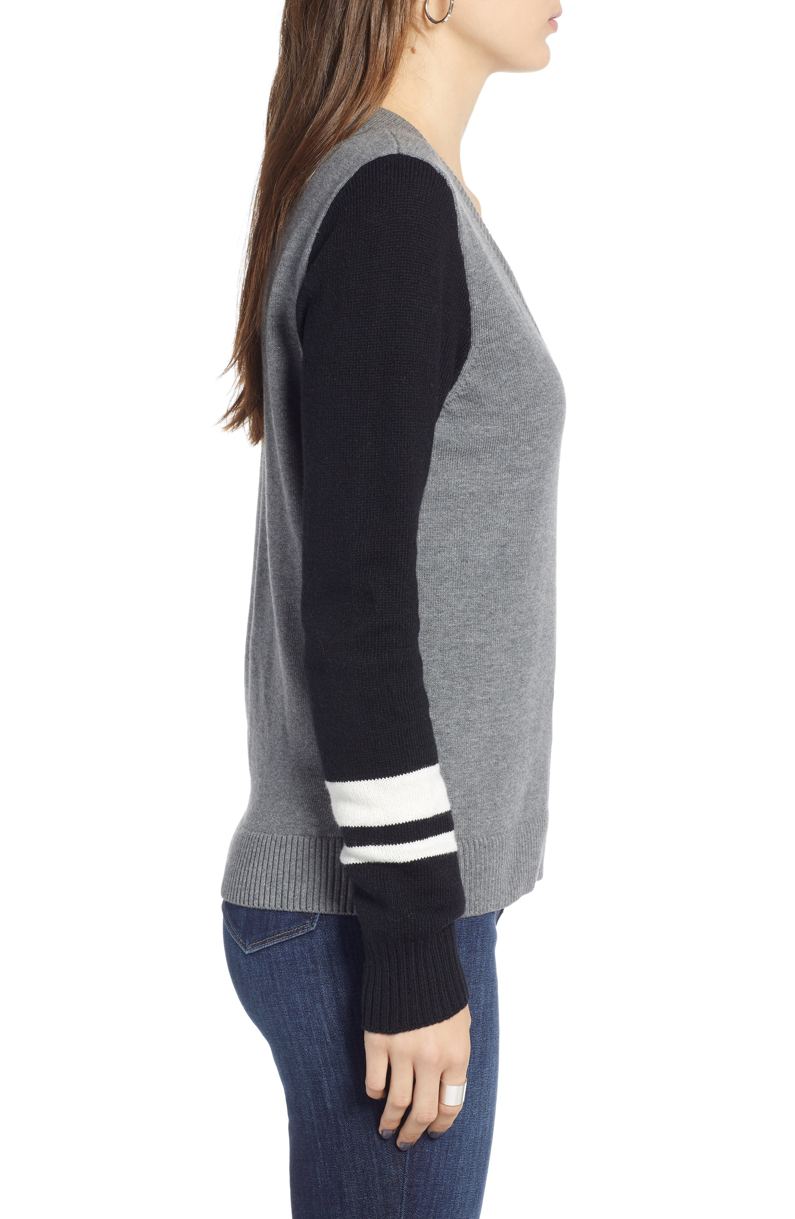 Stripe V-Neck Sweater,                             Alternate thumbnail 3, color,                             GREY HEATHER COMBO