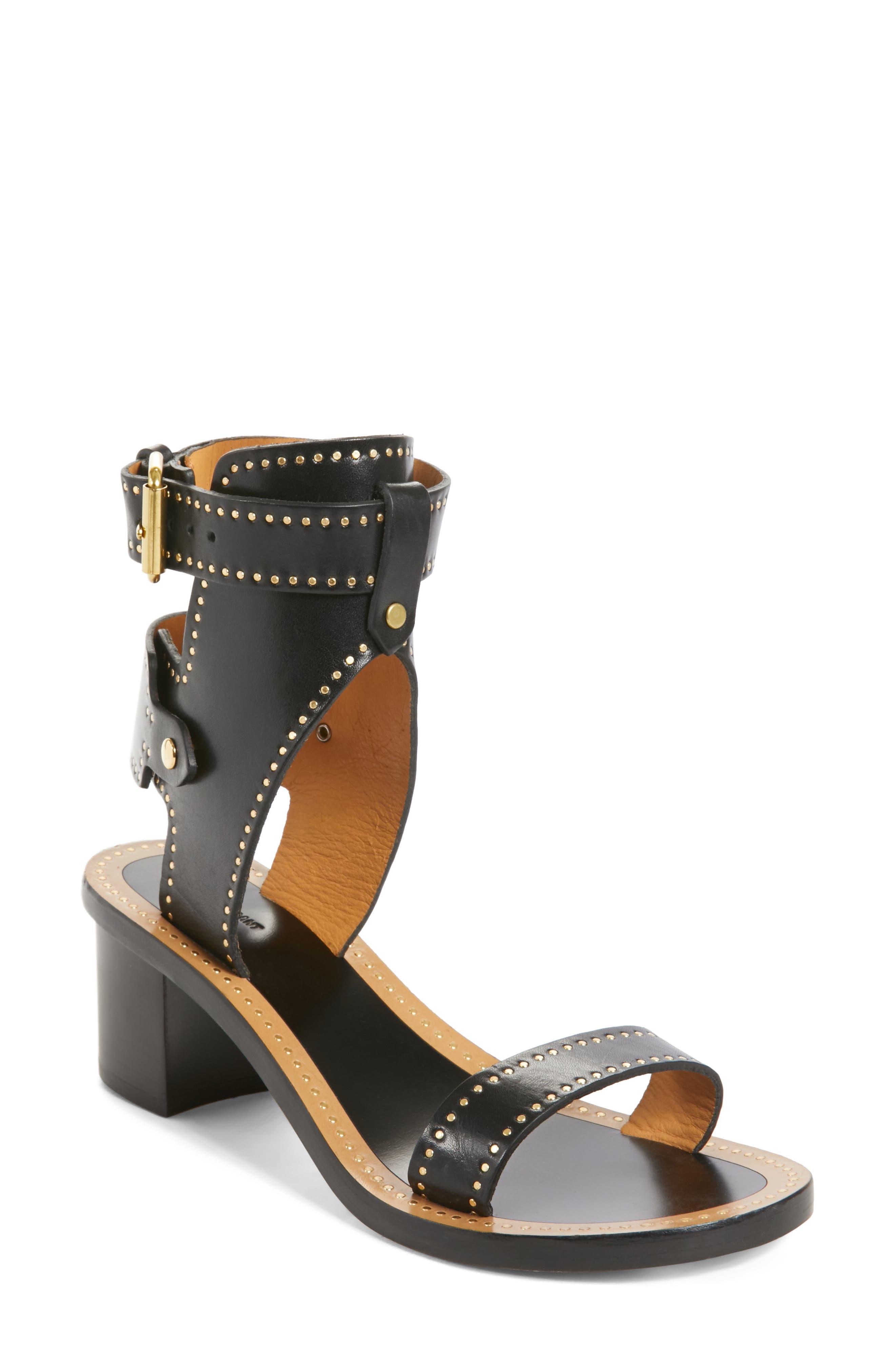 Jaeryn Studded Ankle Strap Sandal,                             Main thumbnail 1, color,                             BLACK LEATHER