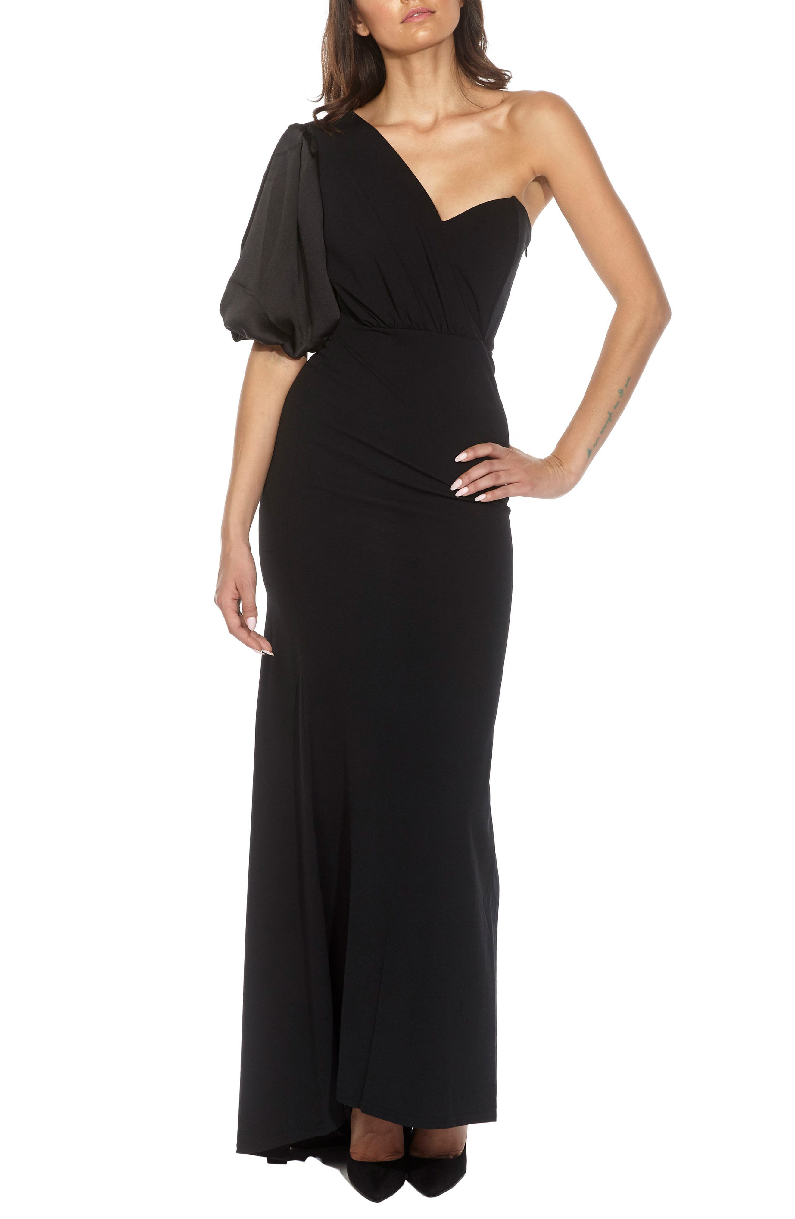 Nawell One-Shoulder Puff Sleeve Gown,                         Main,                         color, 001