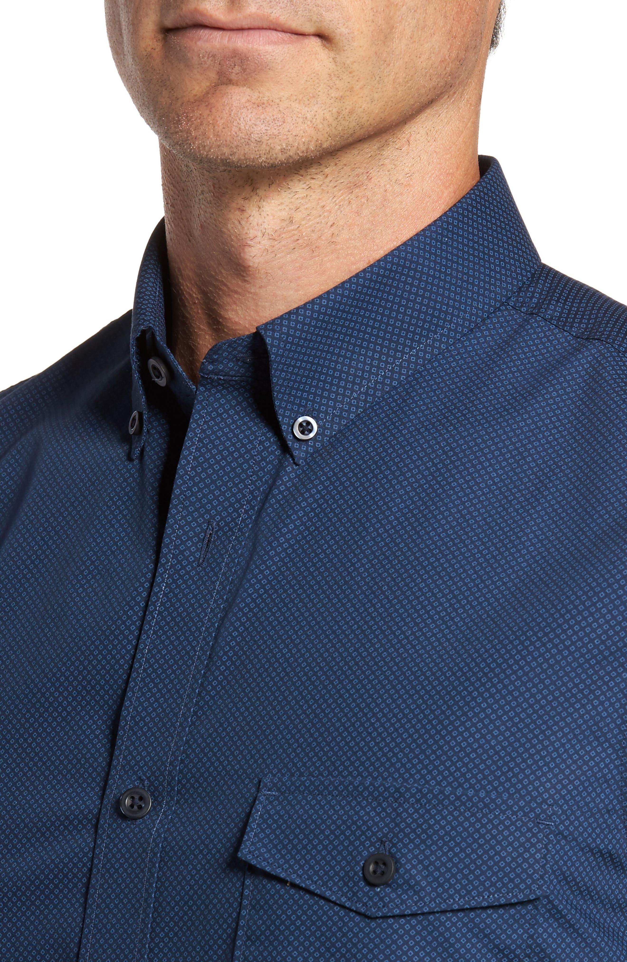 Regular Fit Non-Iron Diamond Print Sport Shirt,                             Alternate thumbnail 4, color,
