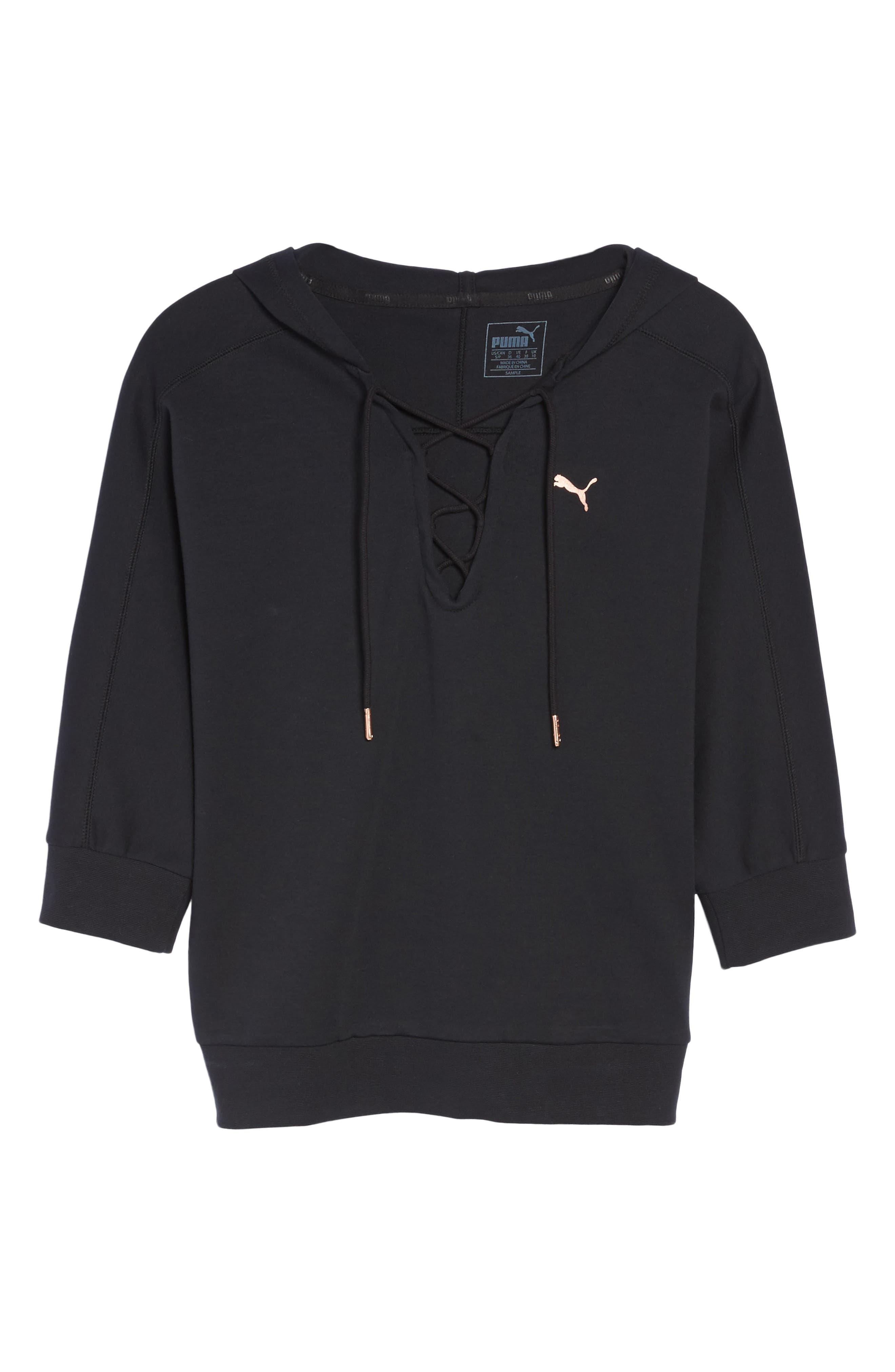 Yogini Lace-Up Hoodie,                             Alternate thumbnail 7, color,                             001