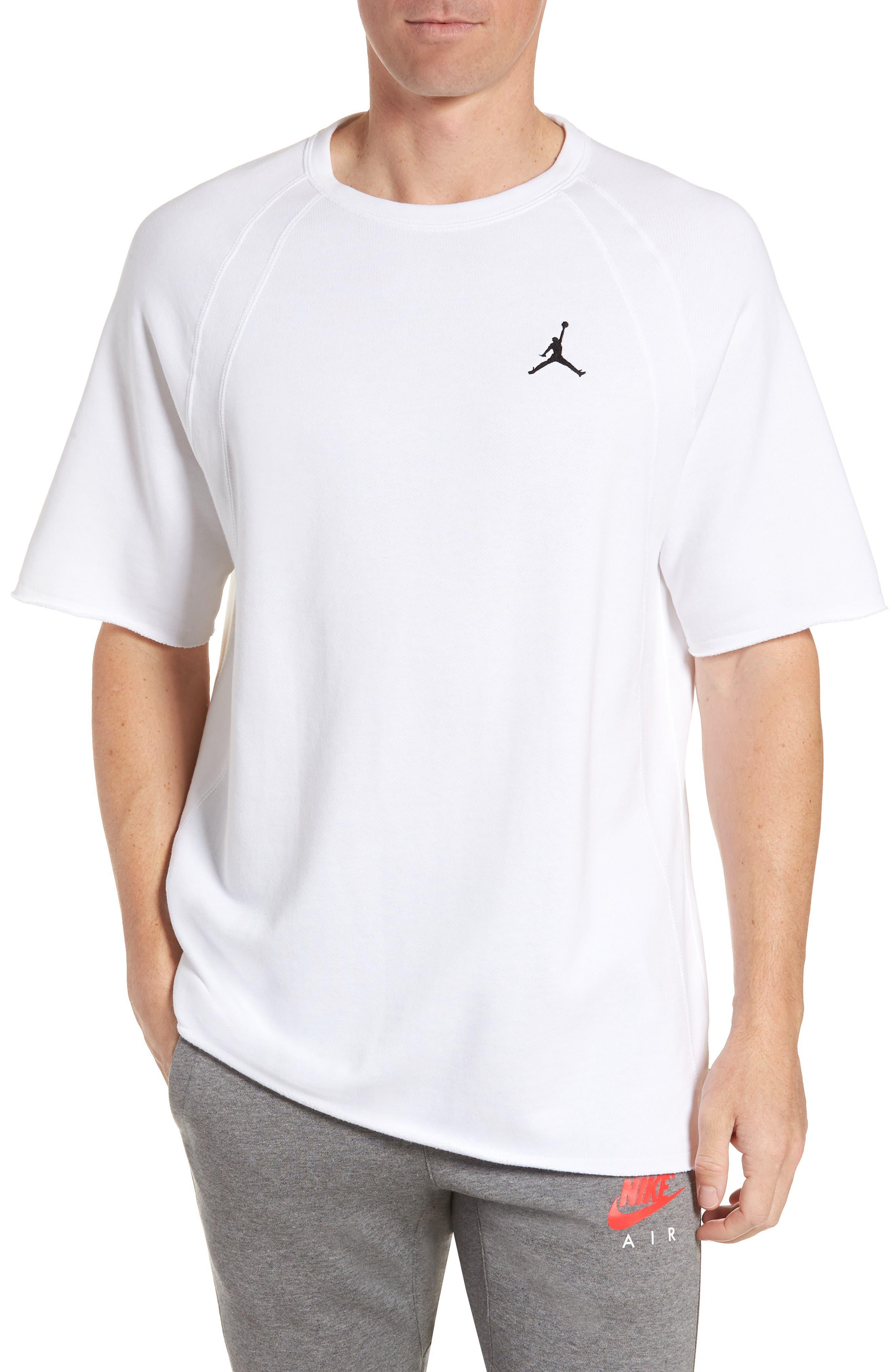 JORDAN,                             Wings Light Short Sleeve Sweatshirt,                             Main thumbnail 1, color,                             WHITE/ BLACK