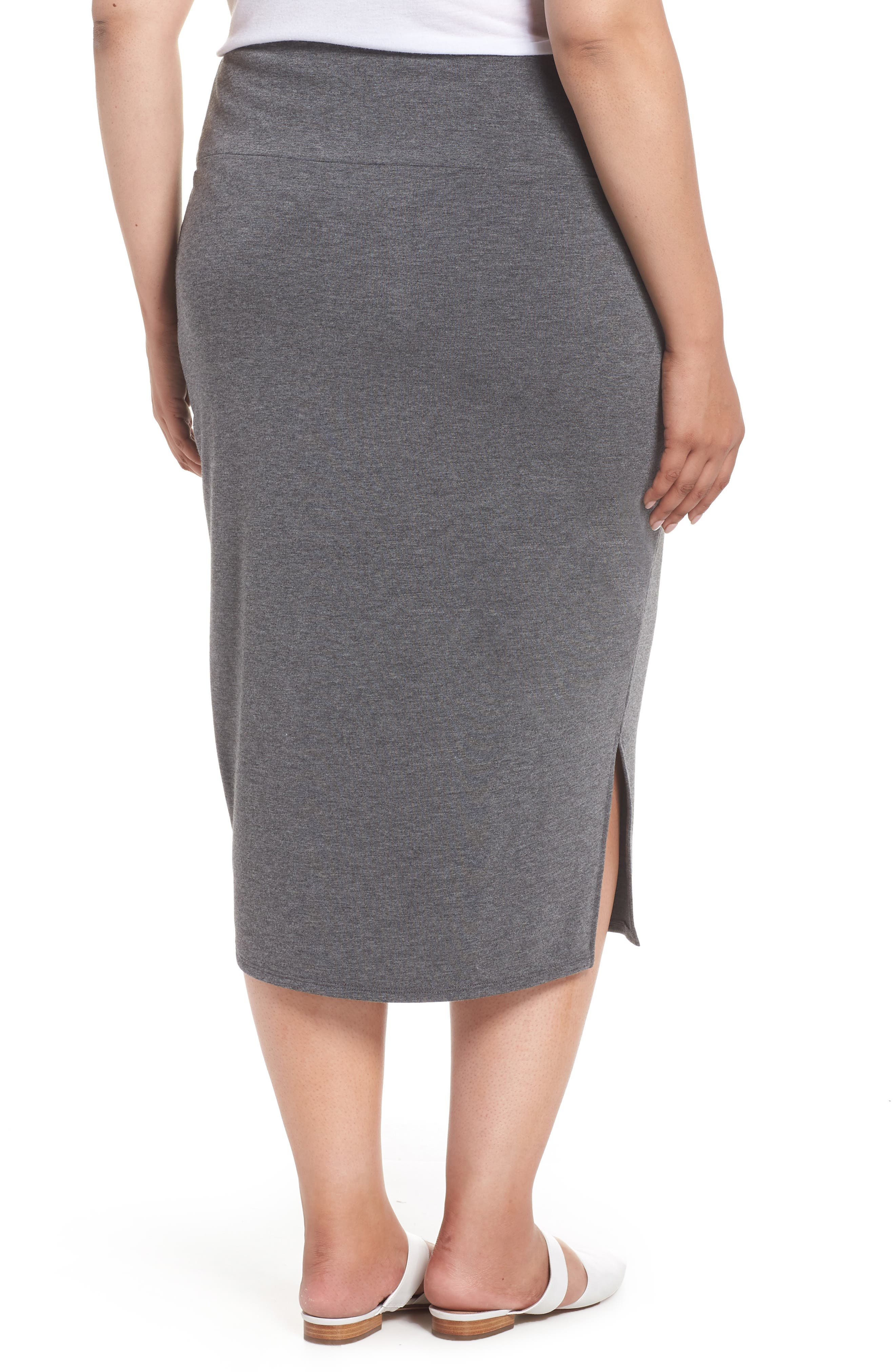 Off Duty Knit Skirt,                             Alternate thumbnail 2, color,                             GREY DARK CHARCOAL HEATHER