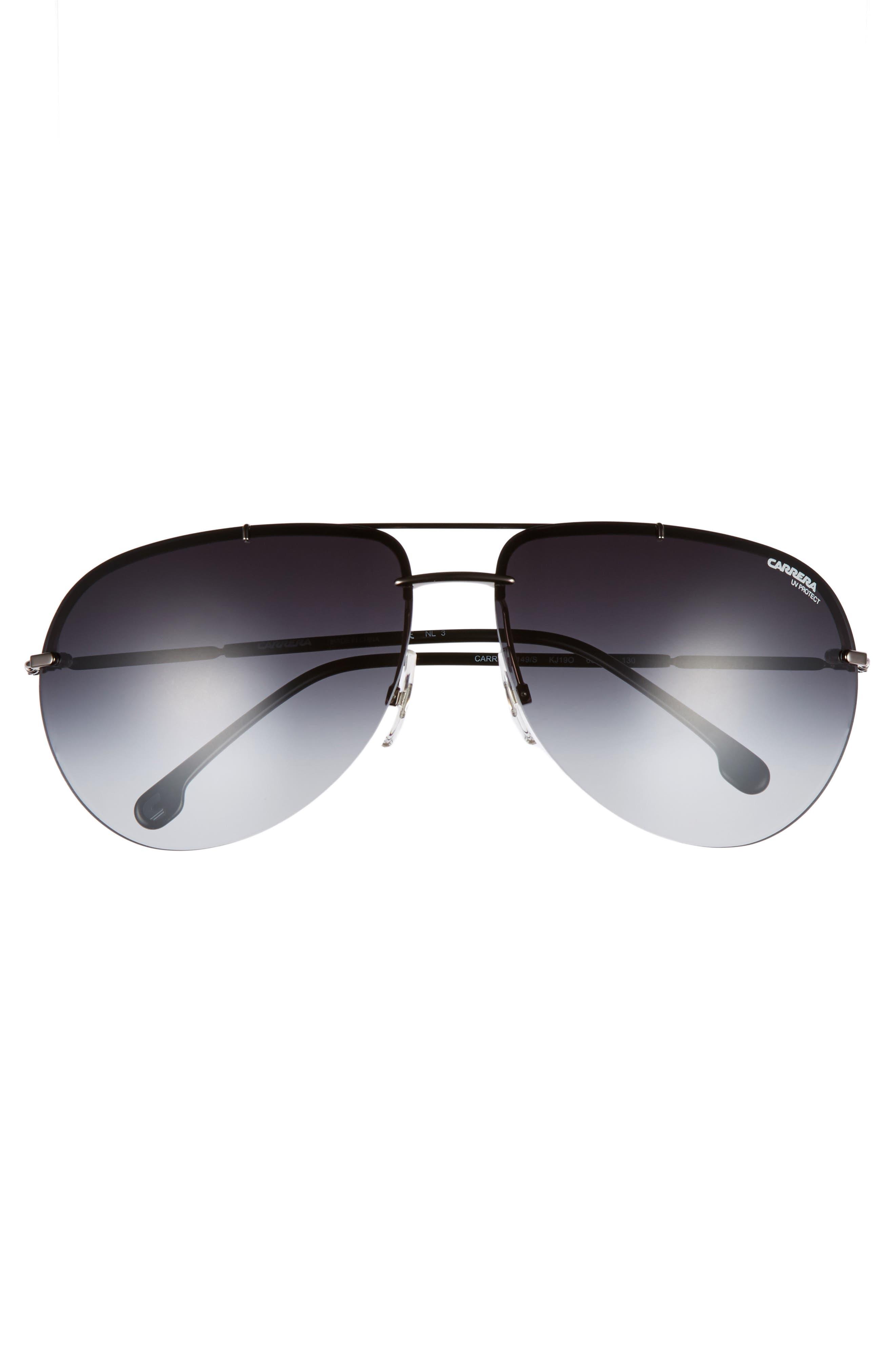 149S 65mm Polarized Aviator Sunglasses,                             Alternate thumbnail 2, color,                             DARK RUTHENIUM / GRAY GRADIENT