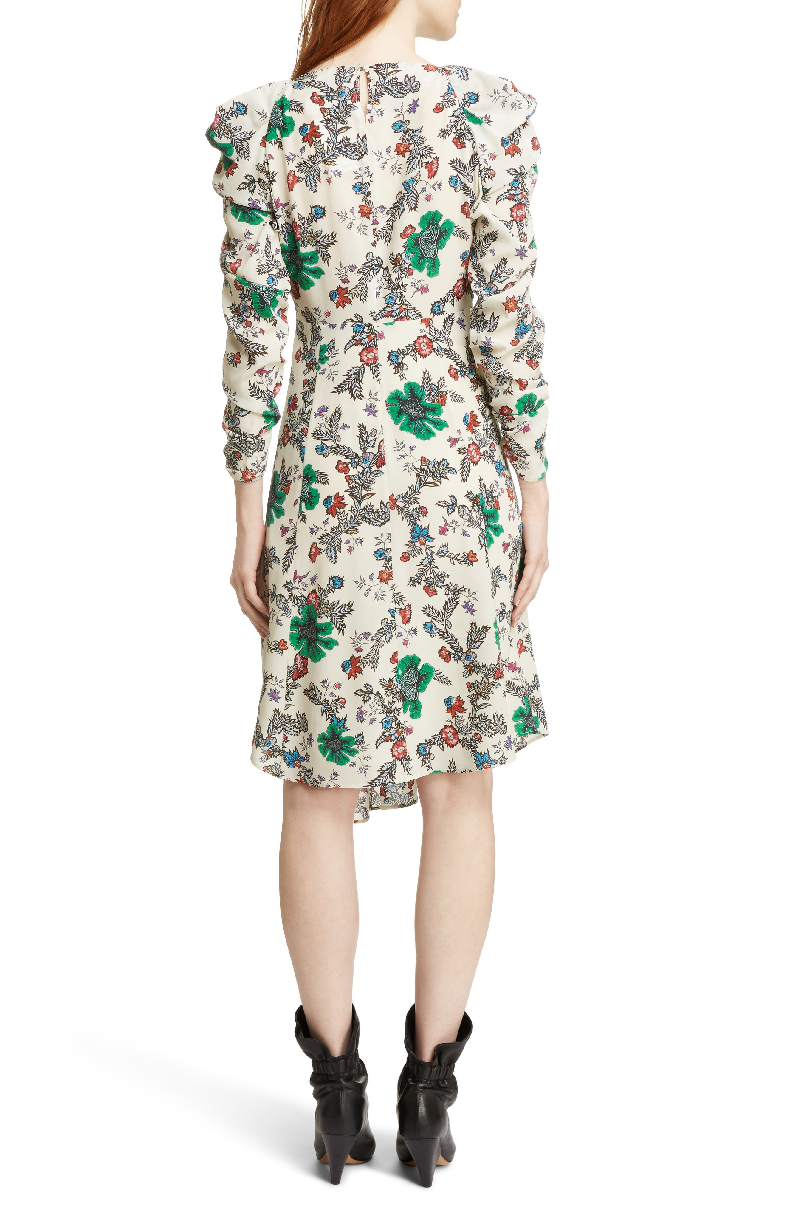 Carley Ruched Sleeve Silk Blend Dress,                             Alternate thumbnail 2, color,                             900
