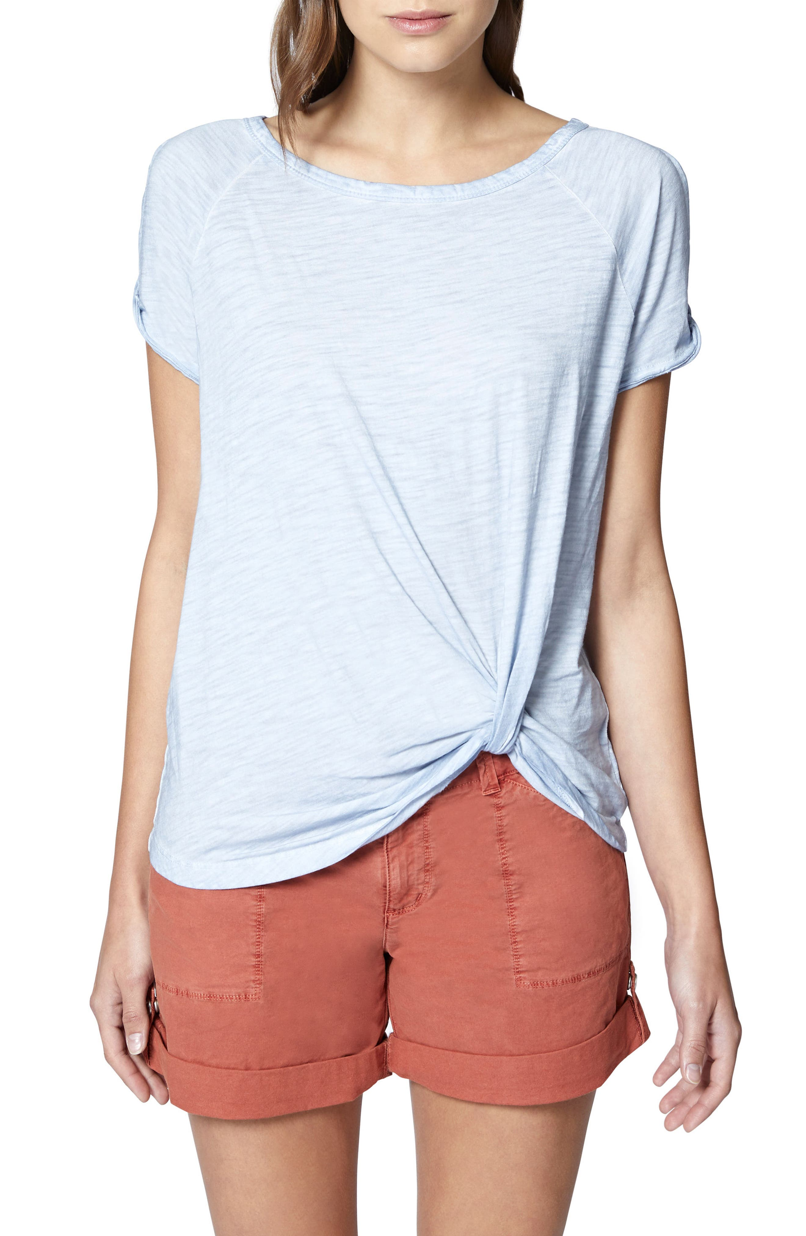 Adrienne Side Twist Cotton Blend Top,                         Main,                         color, MORNING BLUE
