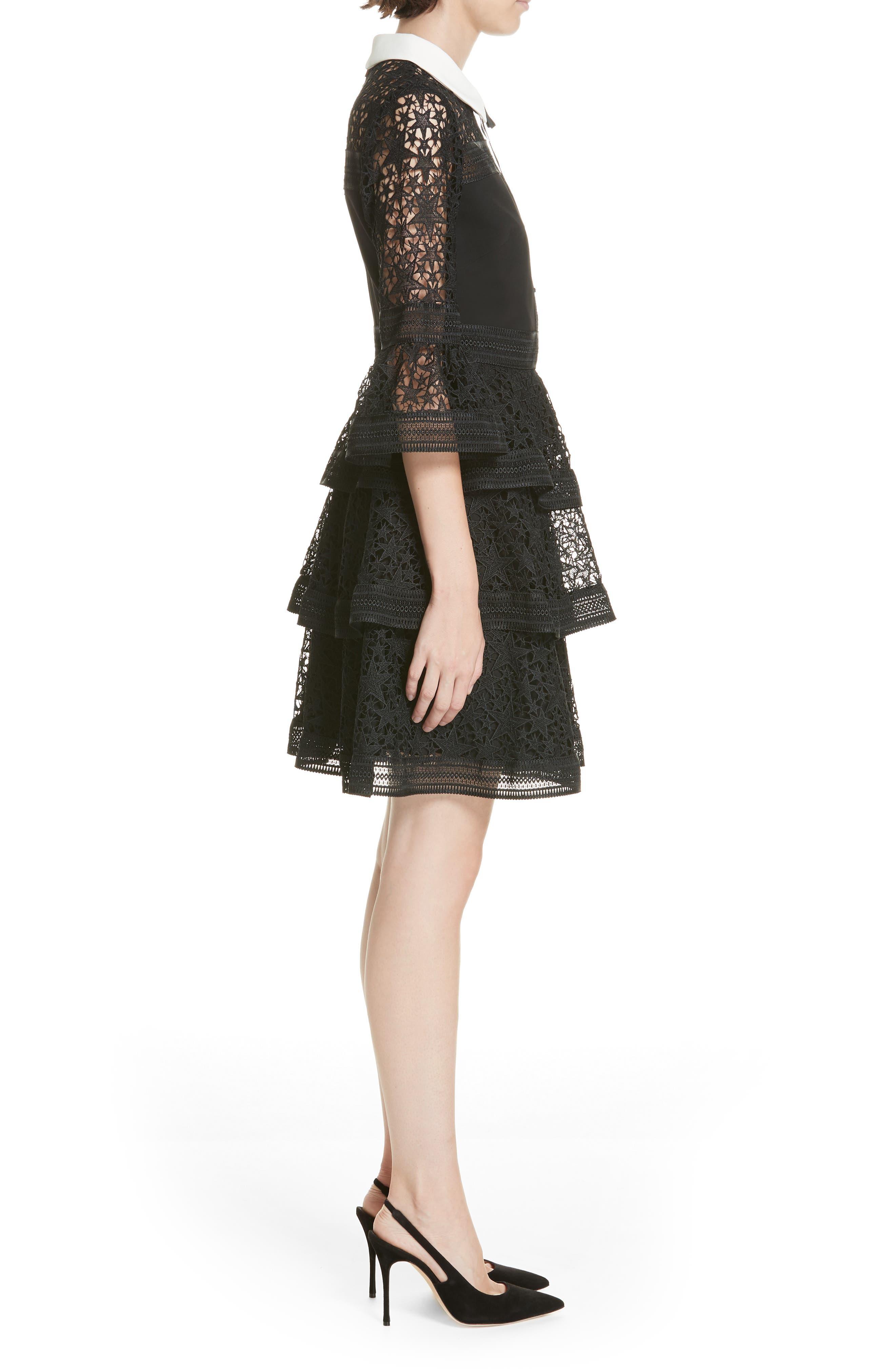 Star Lace Ruffle Dress,                             Alternate thumbnail 3, color,                             BLACK