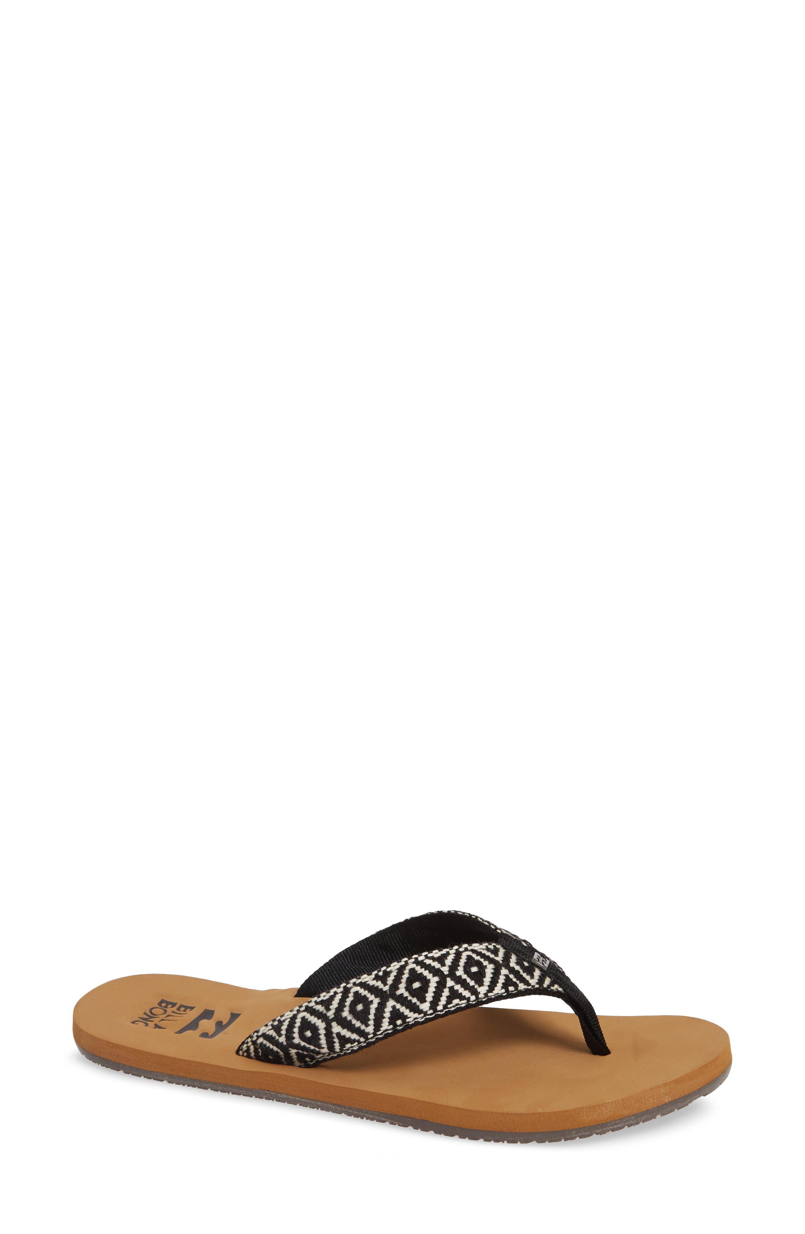 Baja Flip Flop,                             Main thumbnail 1, color,                             BLACK/ WHITE