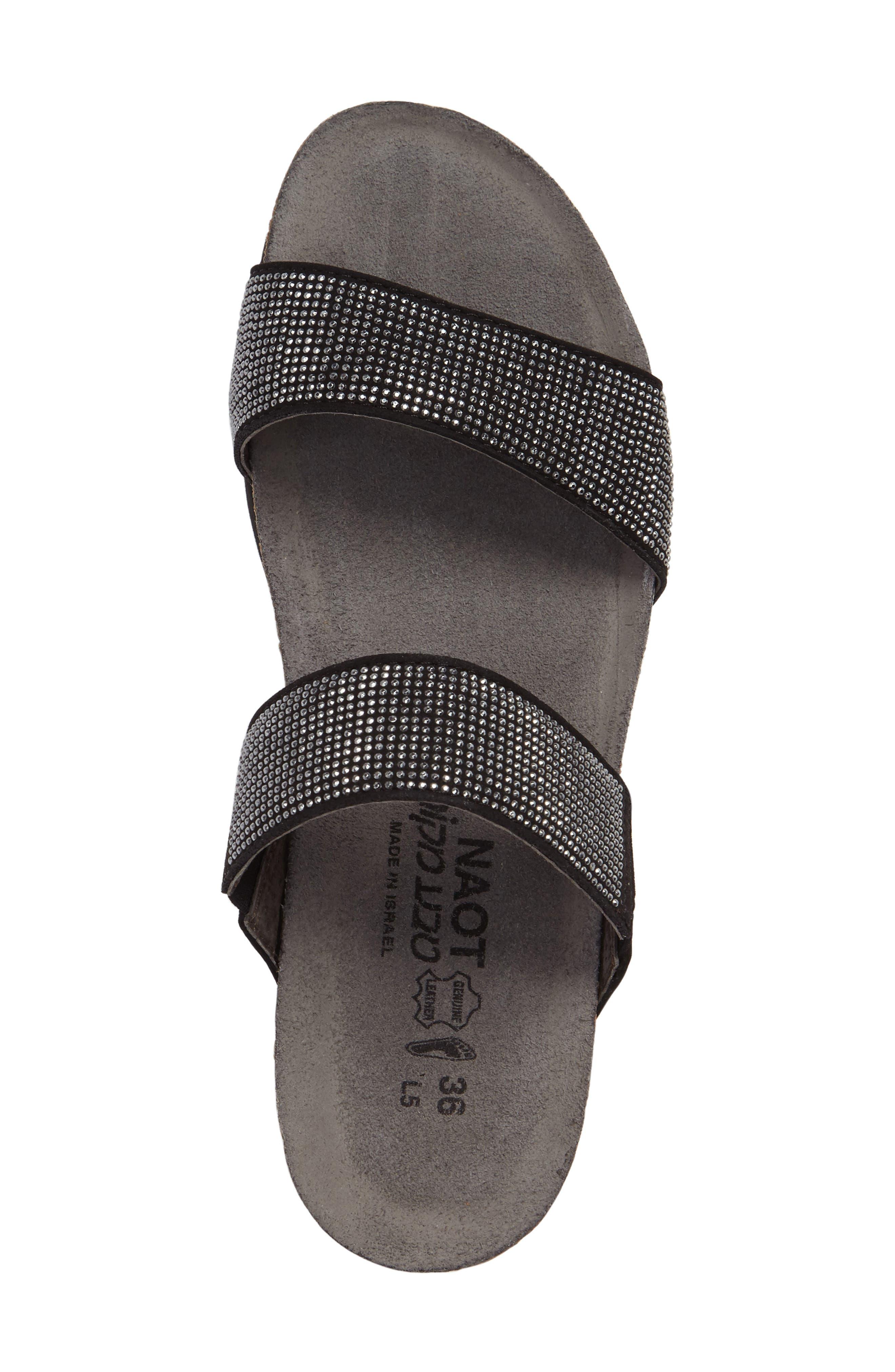 'Bianca' Slide Sandal,                             Alternate thumbnail 3, color,                             BLACK LEATHER