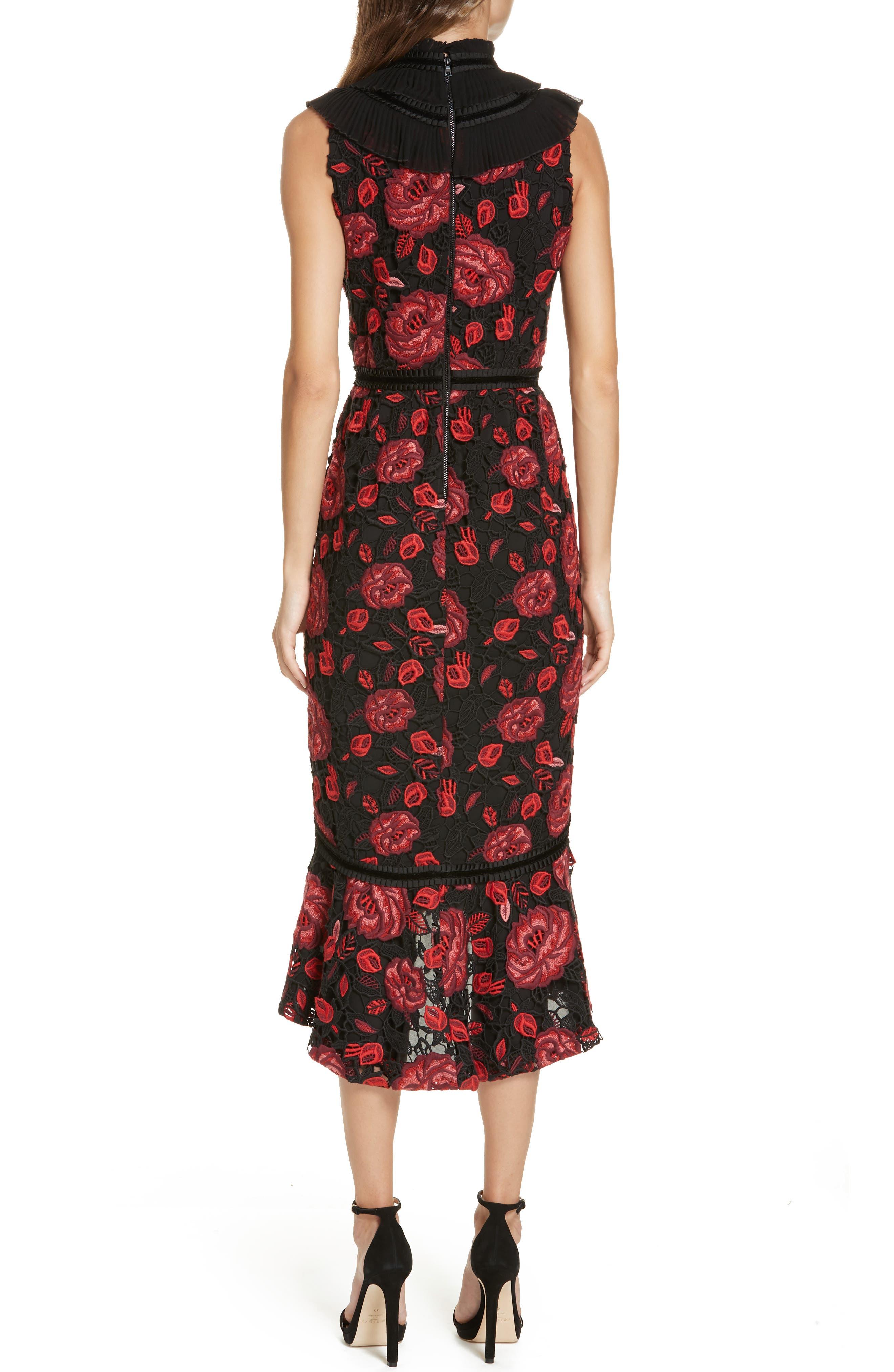 Evelina High Ruffle Neck Body-Con Midi Dress,                             Alternate thumbnail 2, color,                             930