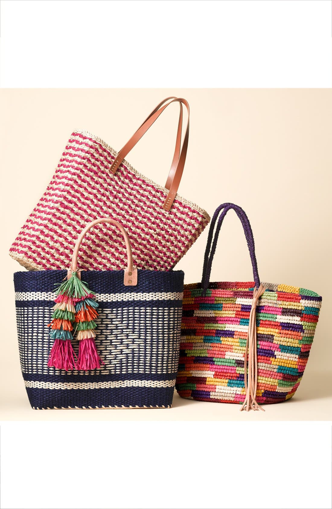 'Ibiza' Woven Tote with Tassel Charms,                             Alternate thumbnail 7, color,                             200