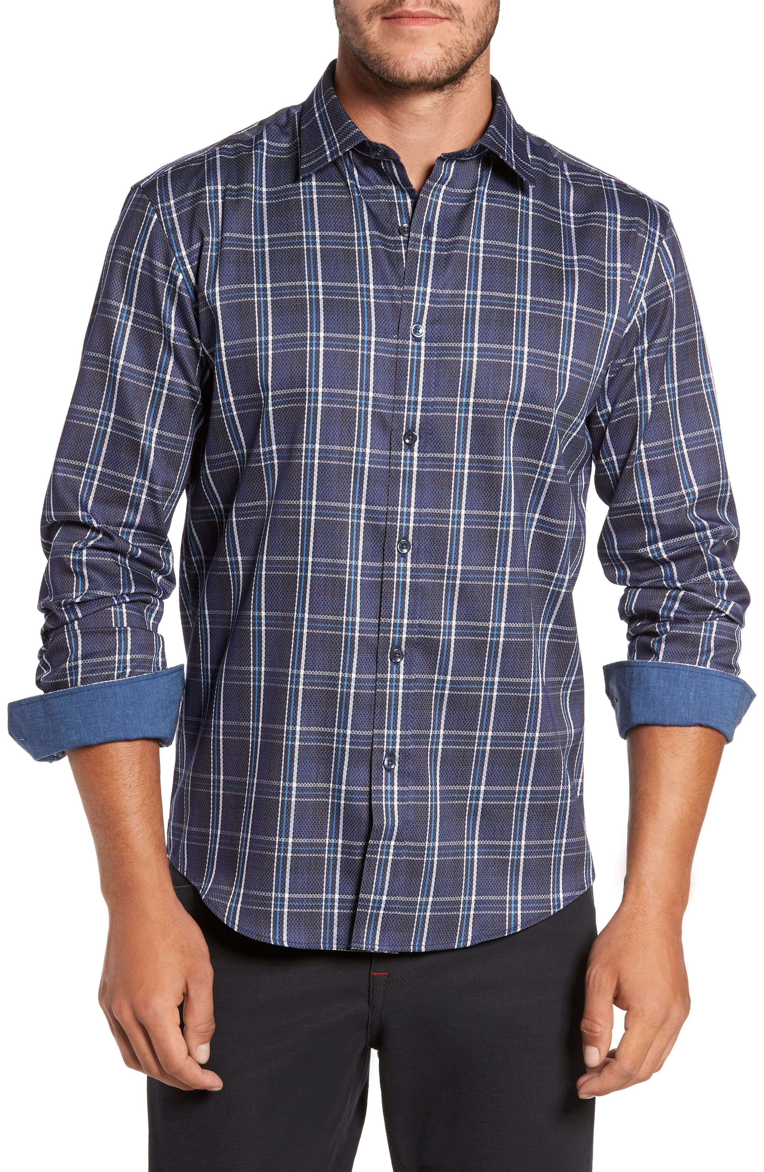 Trim Fit Diamond Weave Windowpane Sport Shirt,                         Main,                         color, 411