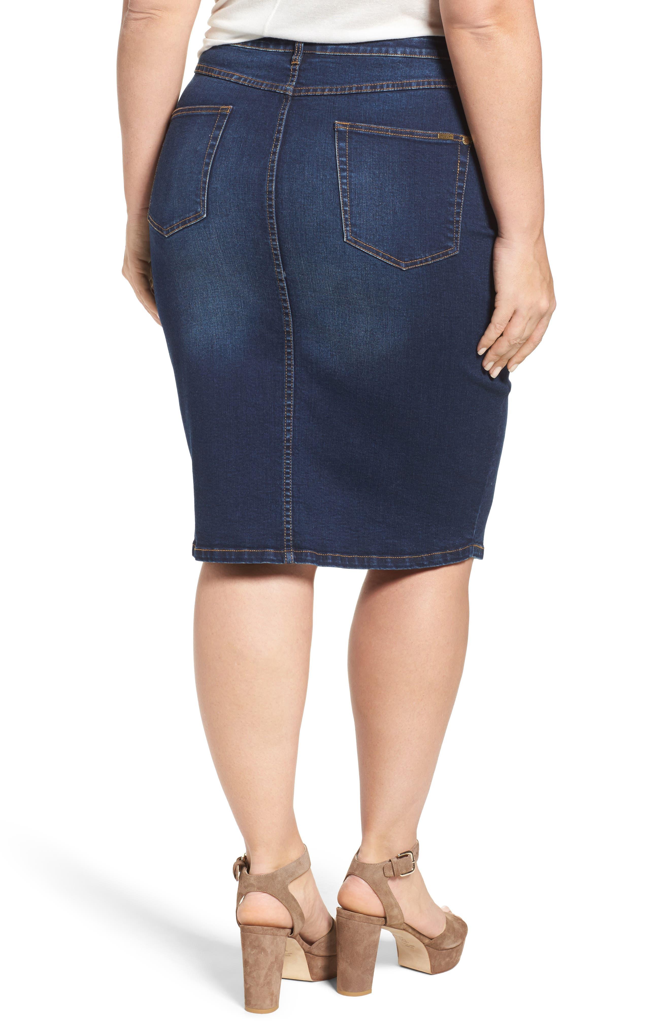 Pin Up Denim Skirt,                             Alternate thumbnail 3, color,