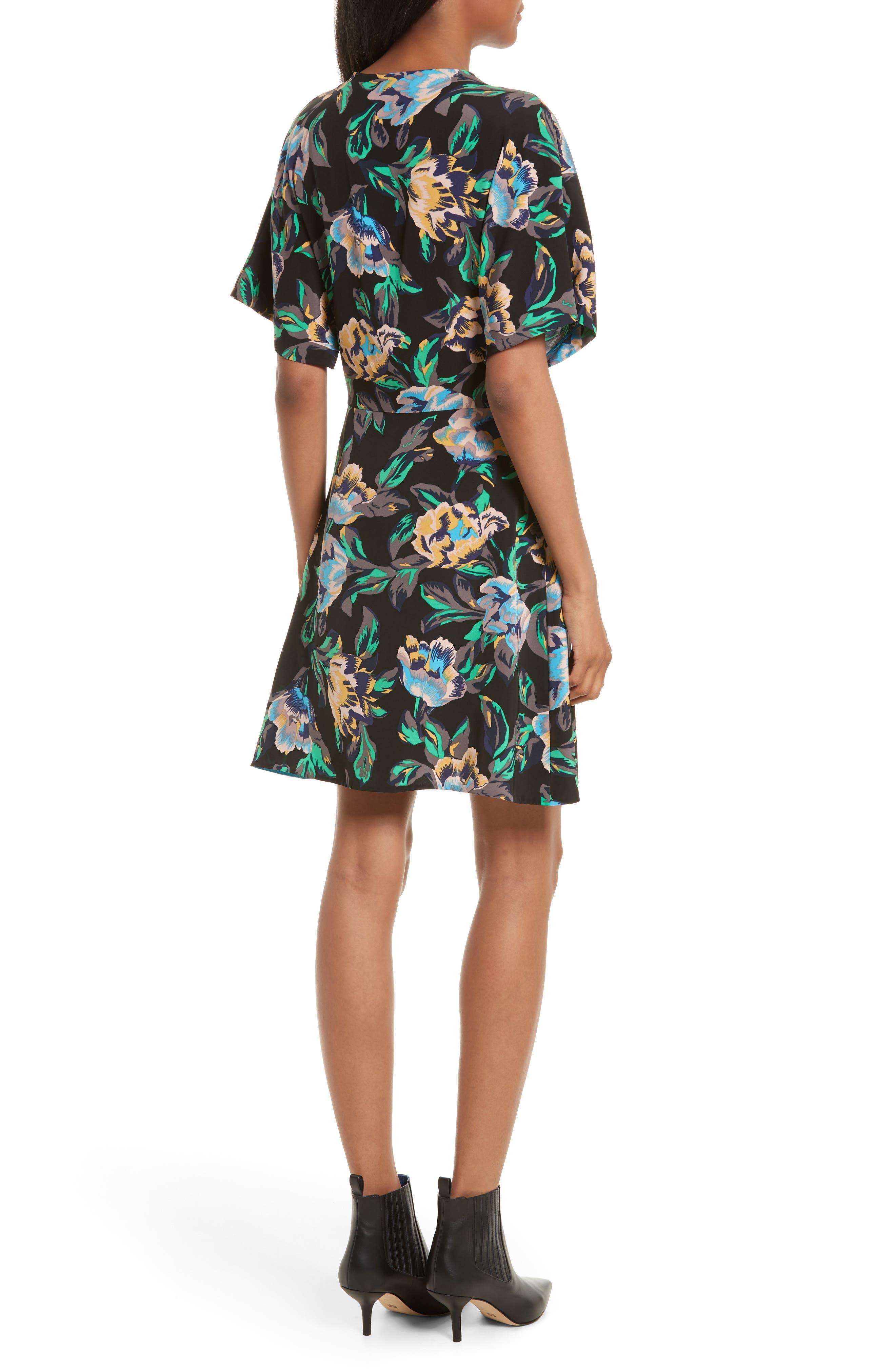 Floral Faux Wrap Dress,                             Alternate thumbnail 2, color,                             008