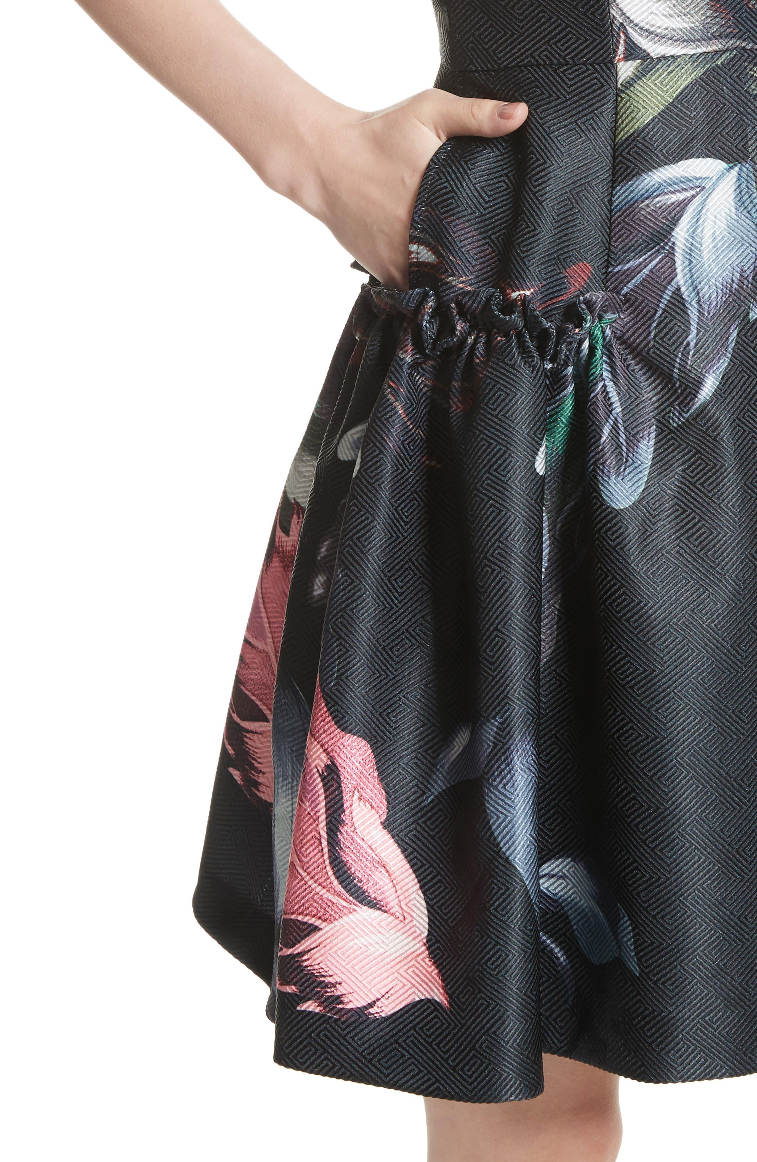 Sarahe Floral Fit & Flare Dress,                             Alternate thumbnail 4, color,                             001