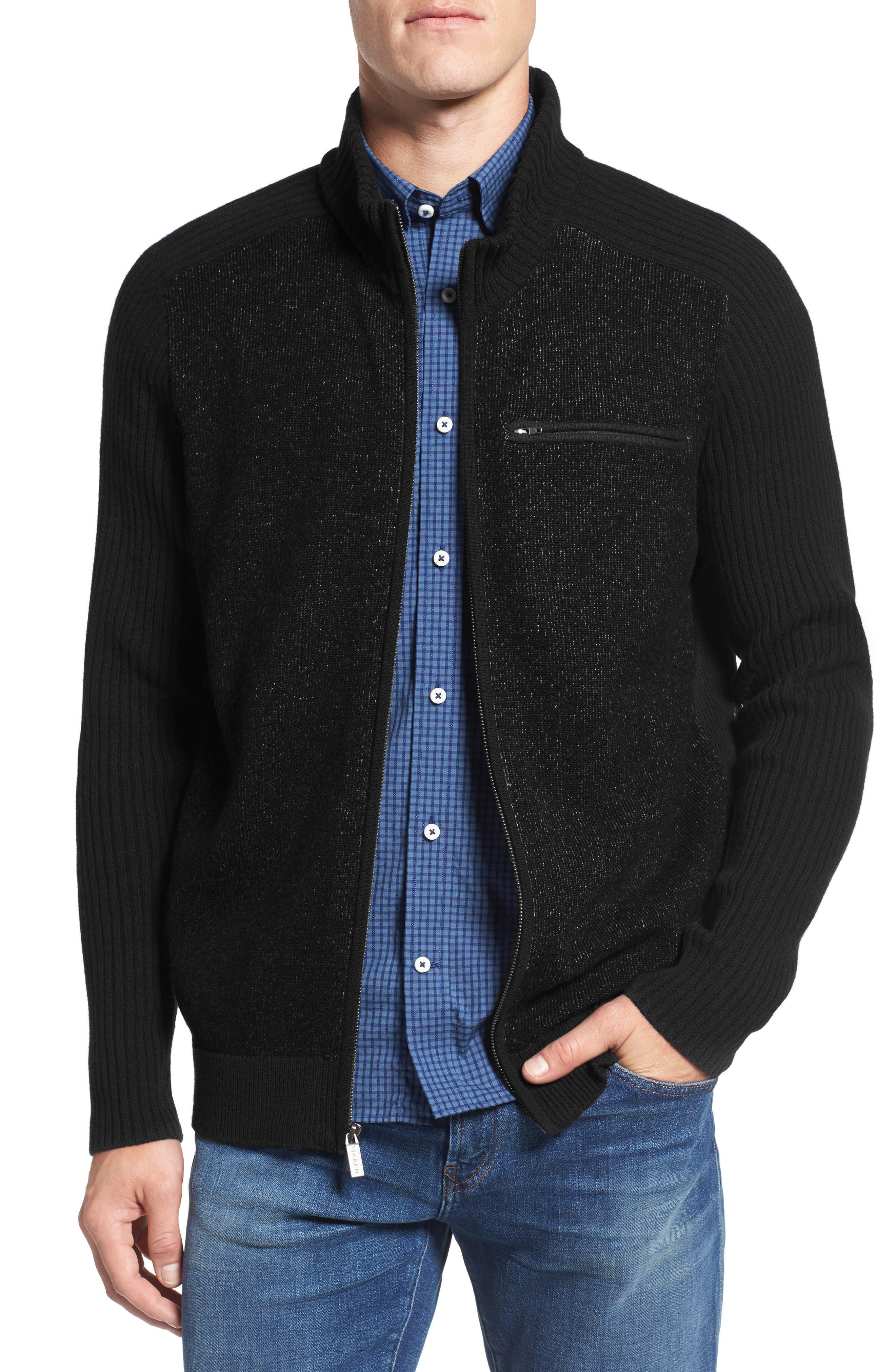 Full Zip Merino Wool & Cashmere Sweater,                             Alternate thumbnail 2, color,                             050