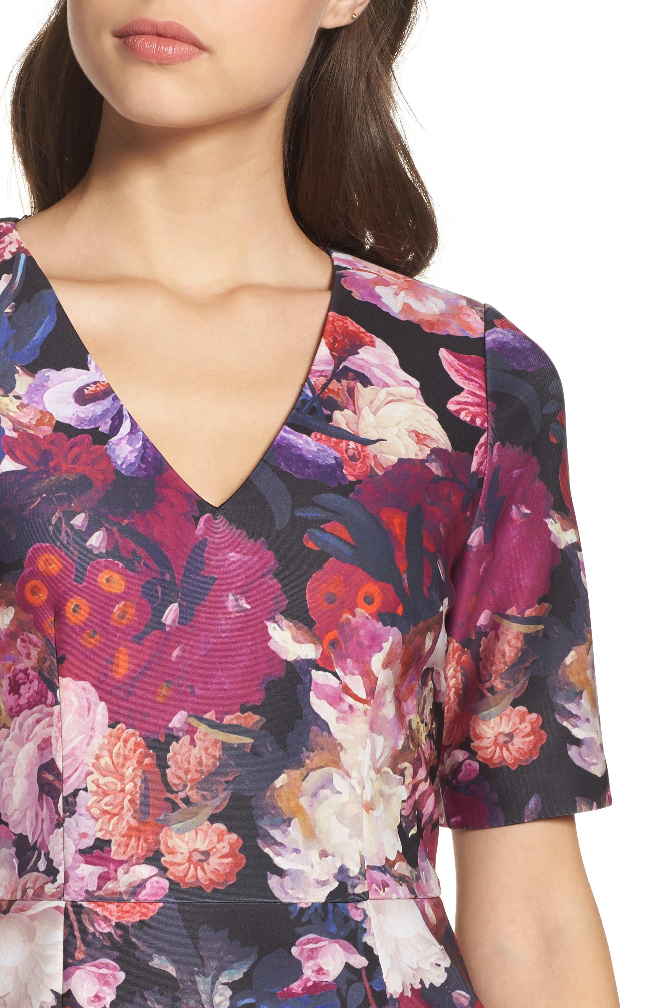 Scuba Sheath Dress,                             Alternate thumbnail 4, color,