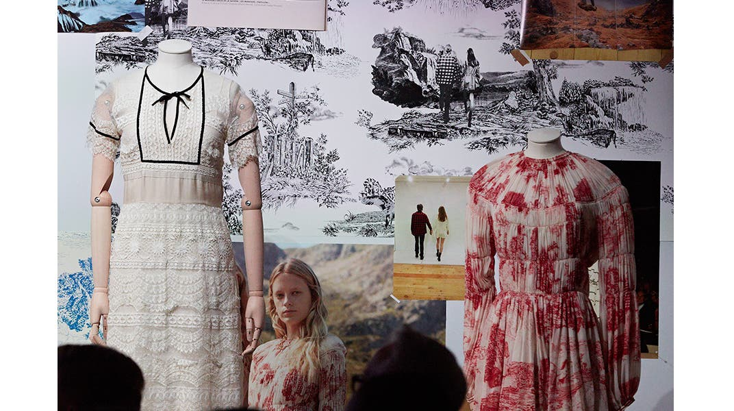 Archival dresses from Chloe displayed at Nordstrom Live.