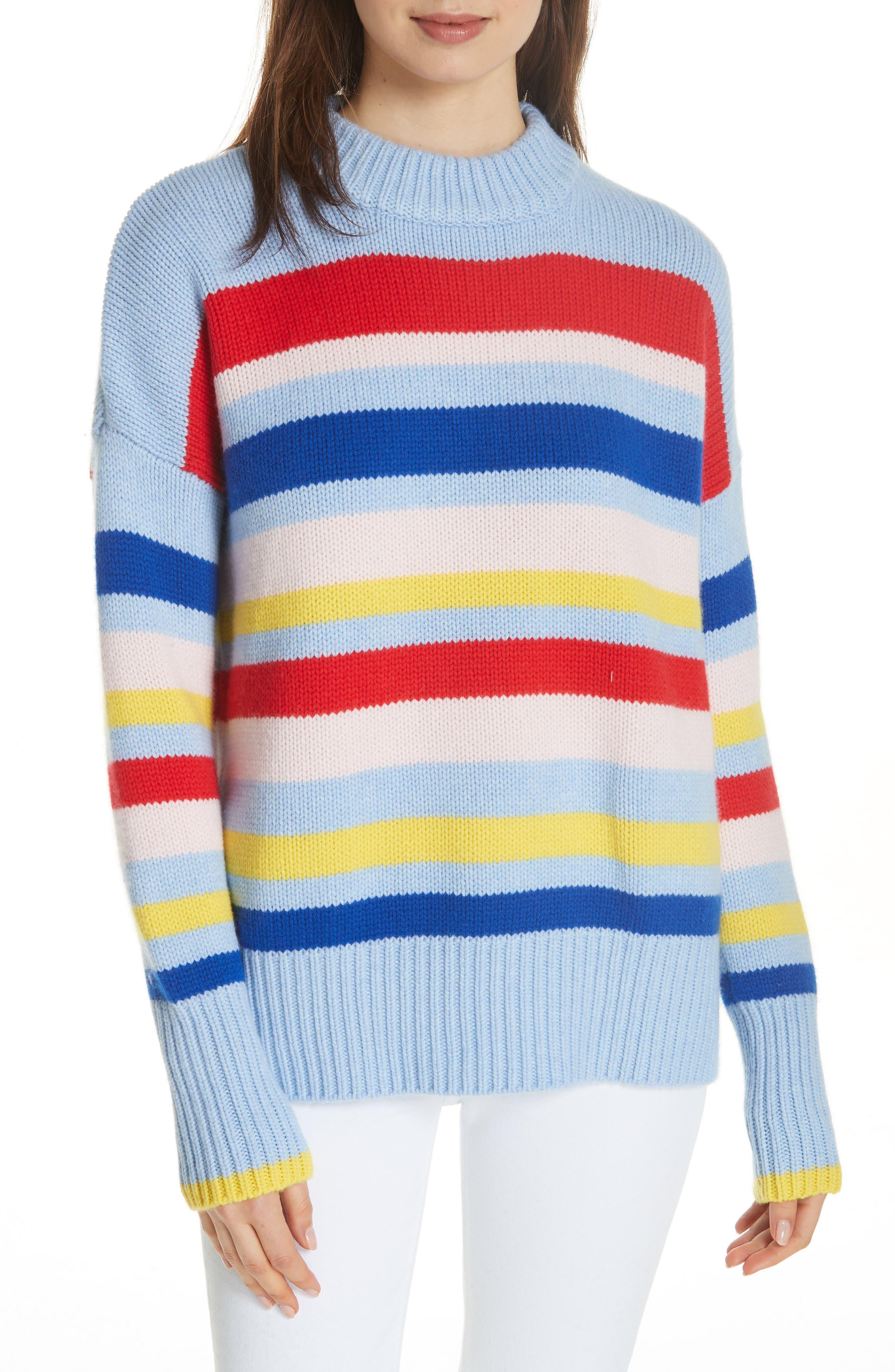 LA LIGNE Happy Marin Sweater, Main, color, RAINBOW STRIPE