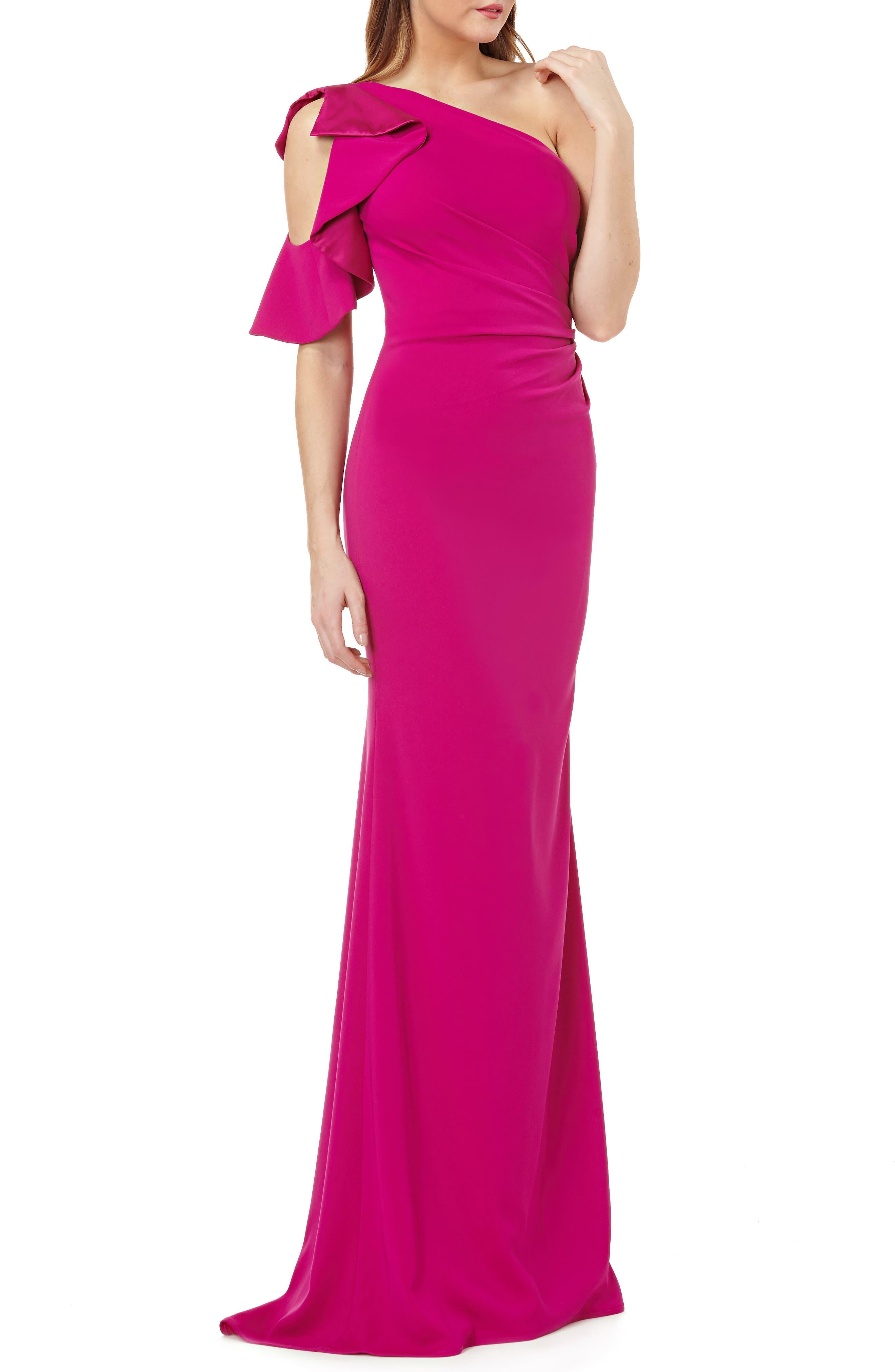 Carmen Marc Valvo One-Shoulder Ruffle Gown, Pink
