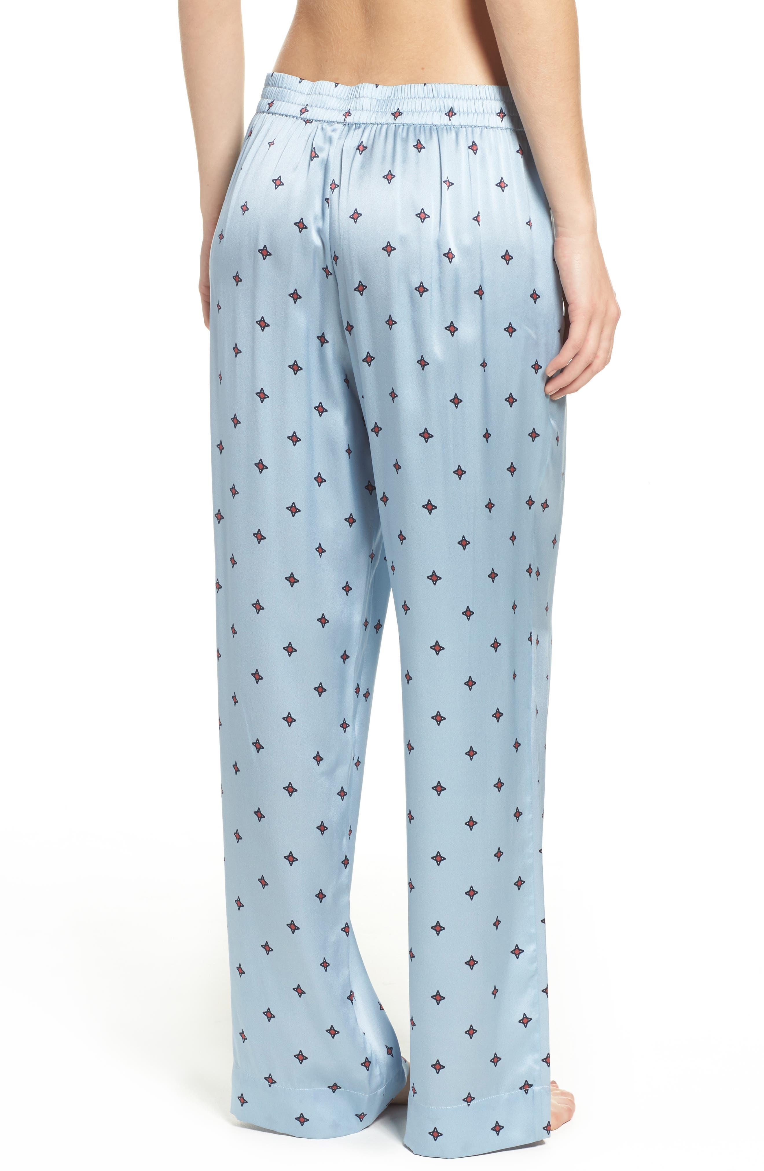 Print Silk Pajama Pants,                             Alternate thumbnail 2, color,                             400