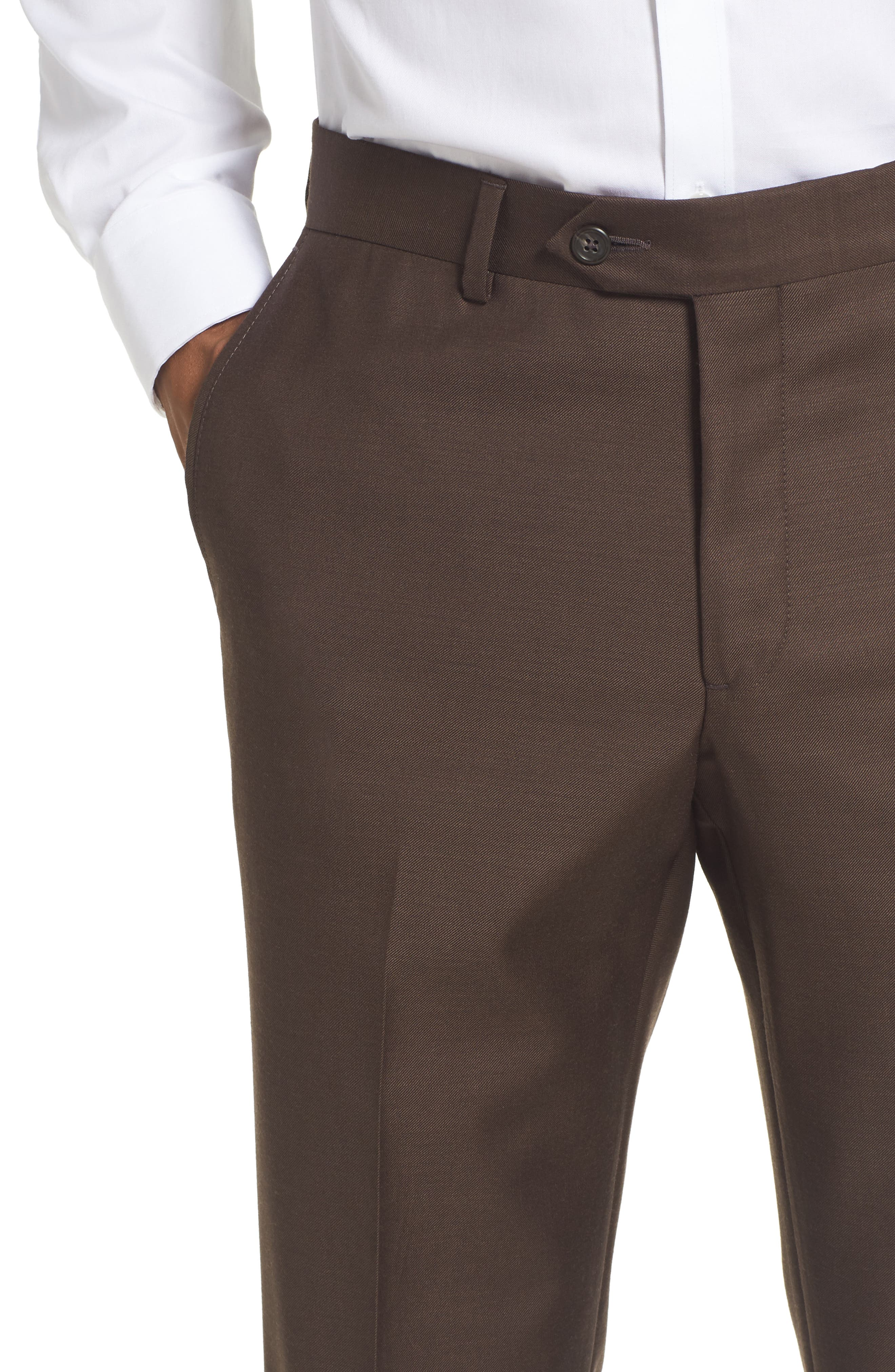 Flat Front Solid Wool Trousers,                             Alternate thumbnail 28, color,
