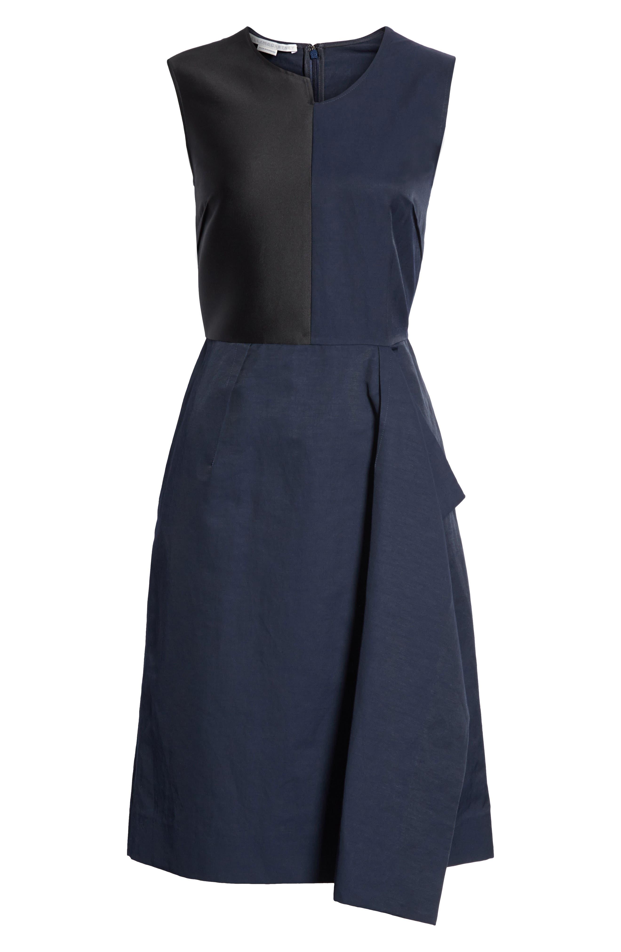 Patchwork A-Line Dress,                             Alternate thumbnail 6, color,                             001