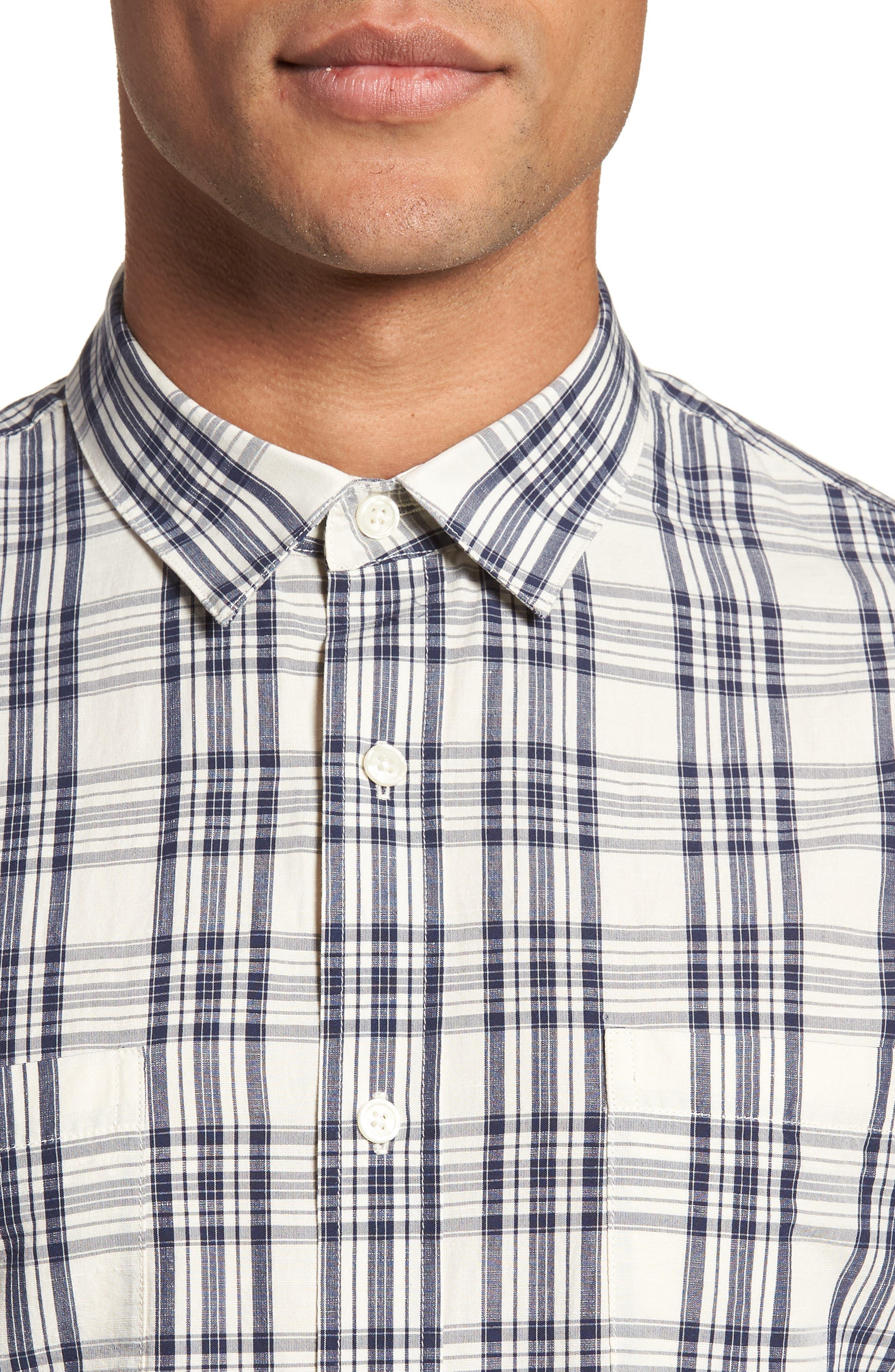 Slim Fit Plaid Sport Shirt,                             Alternate thumbnail 8, color,
