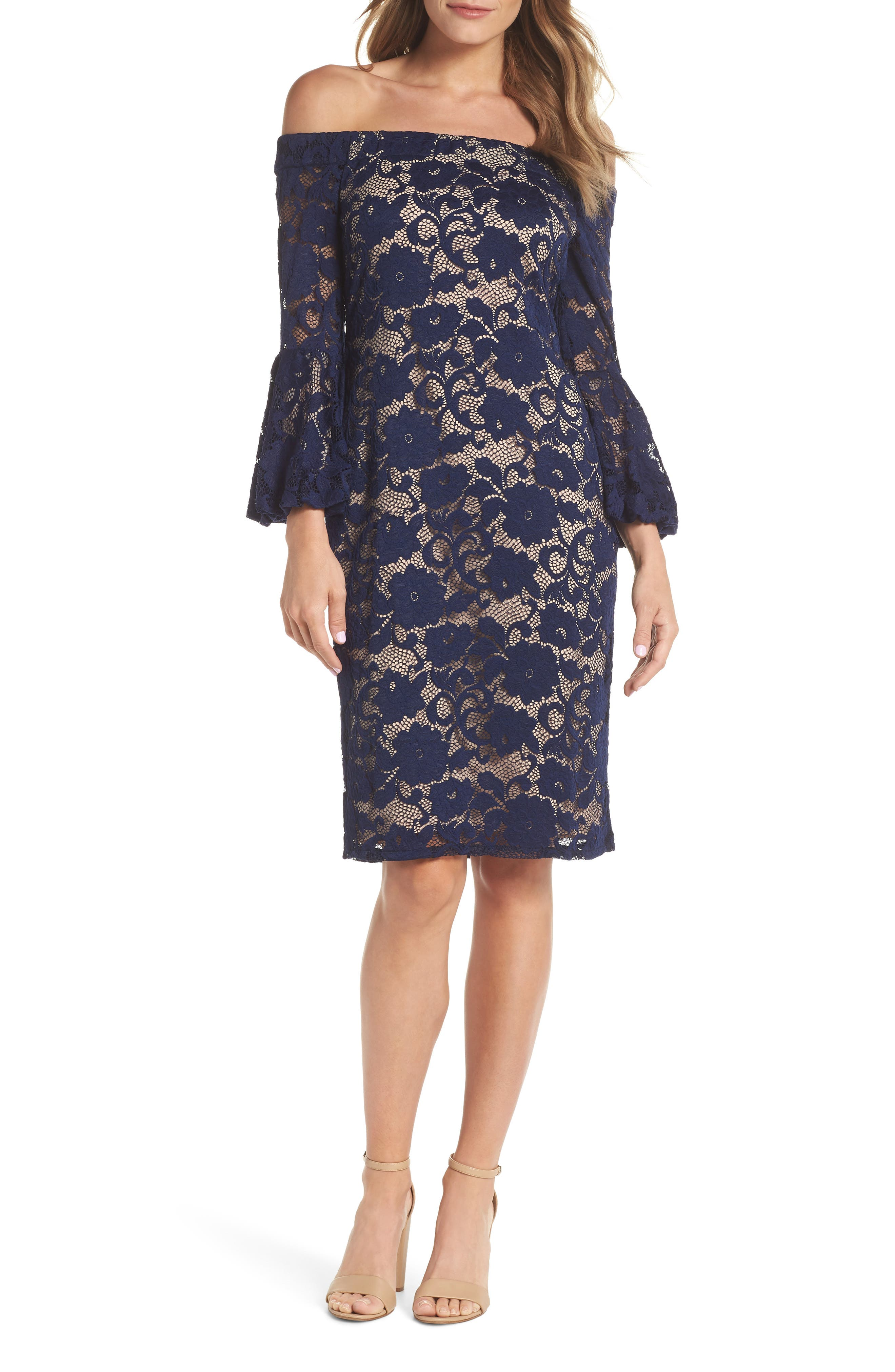 Eliza J Bubble Bell Sleeve Off The Shoulder Lace Sheath Dress