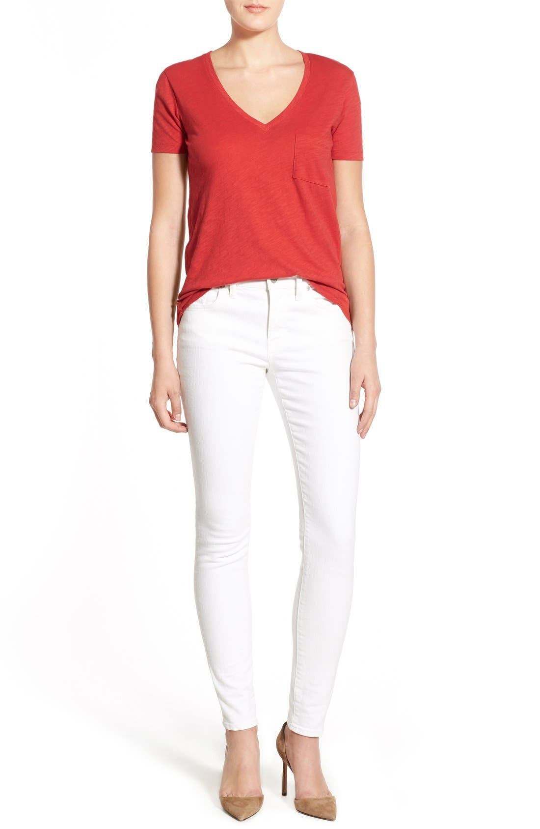 Whisper Cotton V-Neck Pocket Tee,                             Alternate thumbnail 74, color,