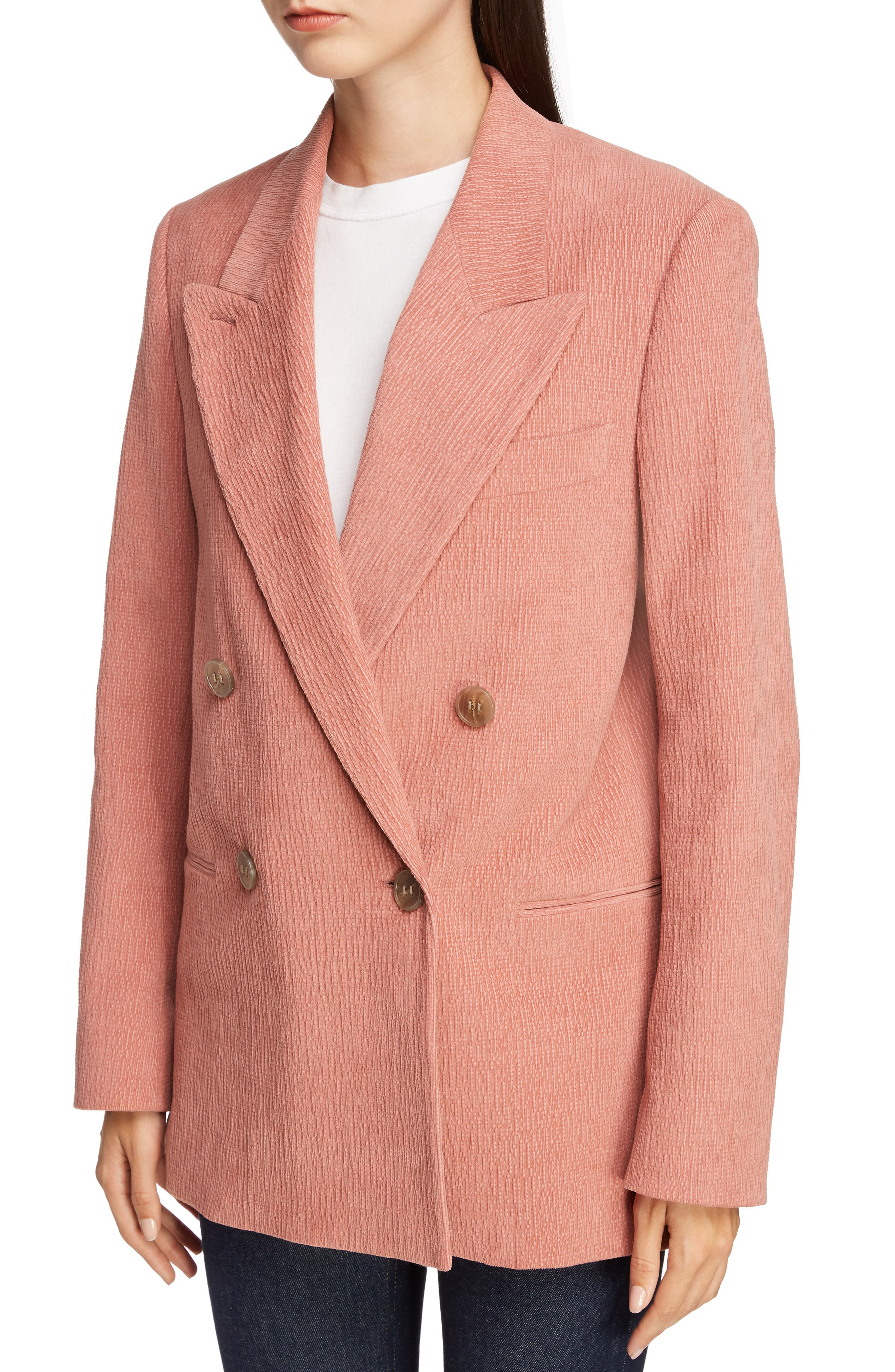 ACNE STUDIOS,                             Corduroy Double Breasted Blazer,                             Alternate thumbnail 4, color,                             OLD PINK