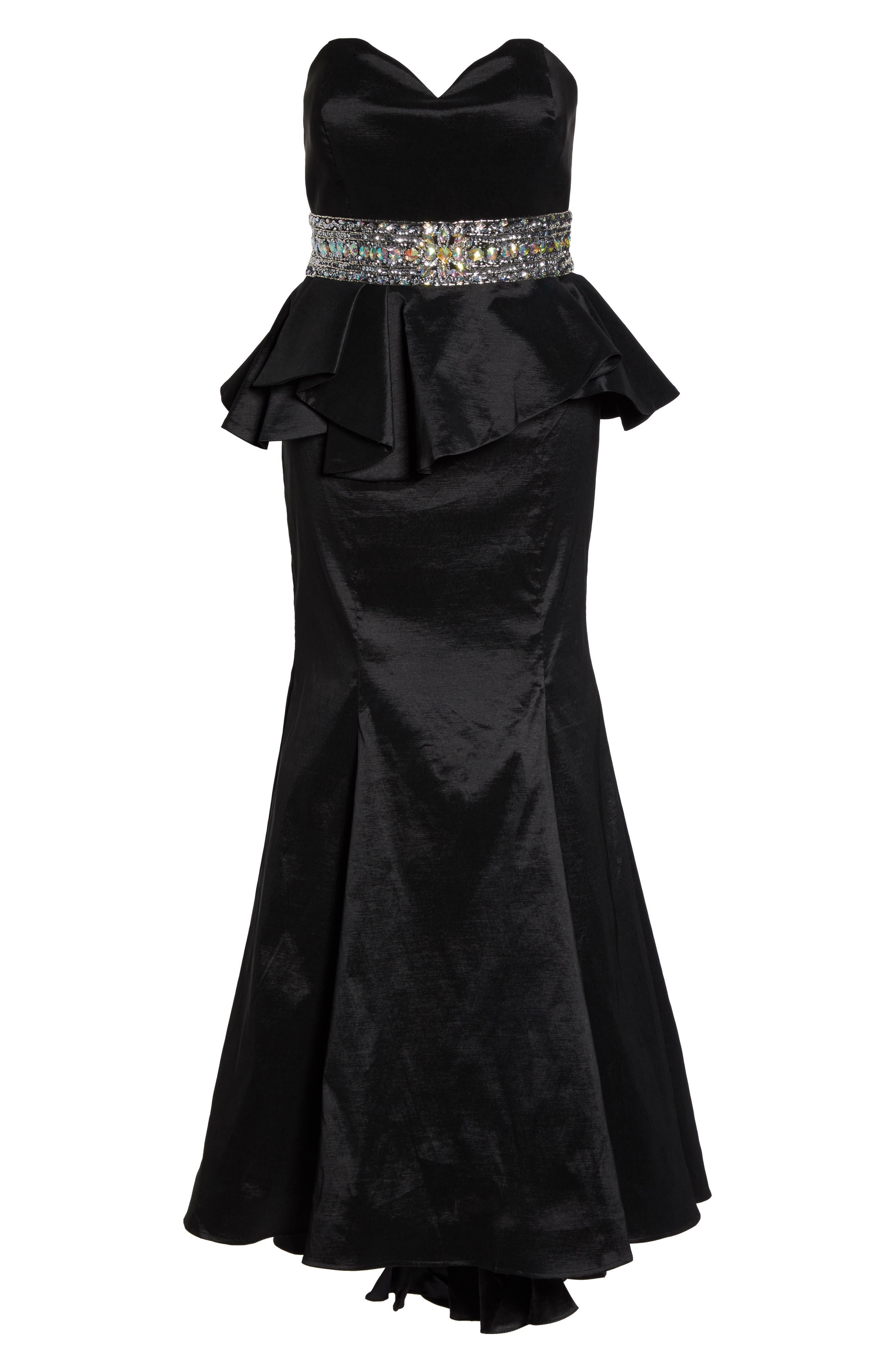 Beaded Bustier Peplum Gown,                             Alternate thumbnail 6, color,                             001