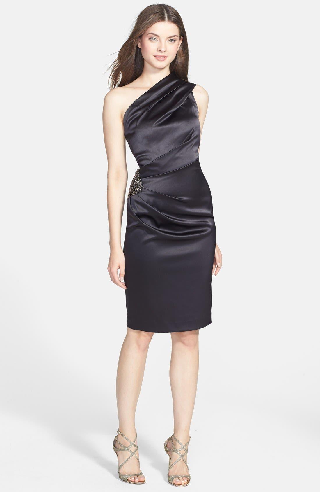 Beaded One-Shoulder Satin Dress,                         Main,                         color,