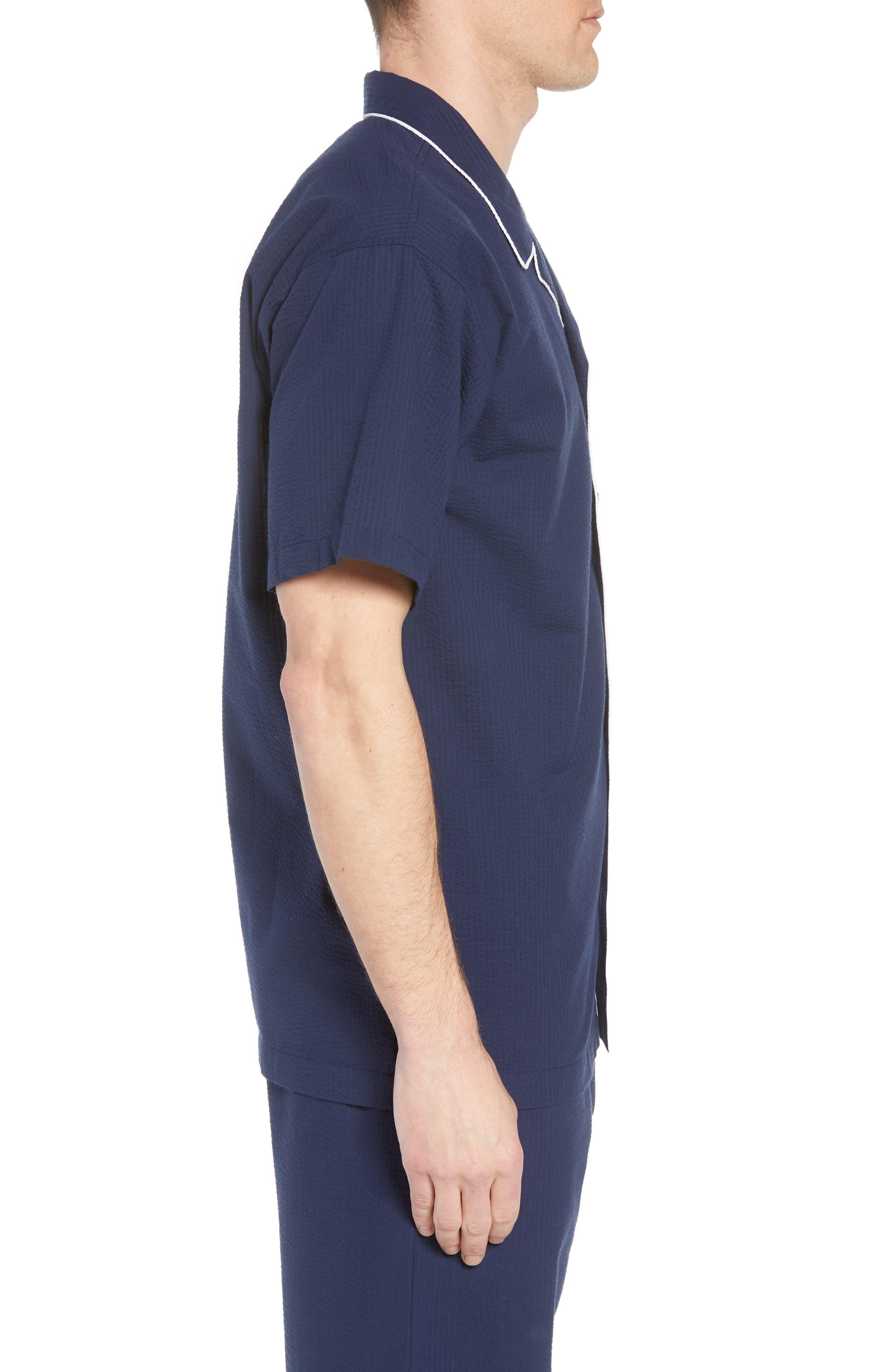 Seersucker Pajama Shirt,                             Alternate thumbnail 3, color,                             421