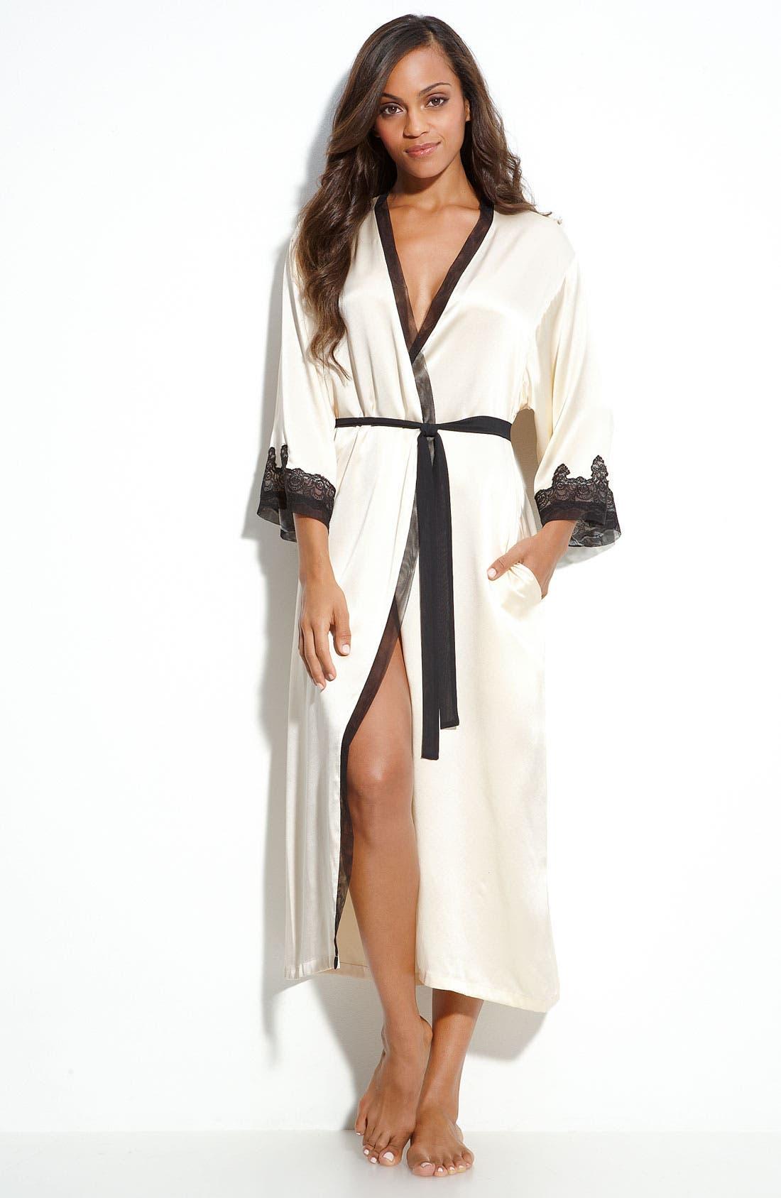 Sleepwear Lace Trim Charmeuse Robe,                             Main thumbnail 4, color,