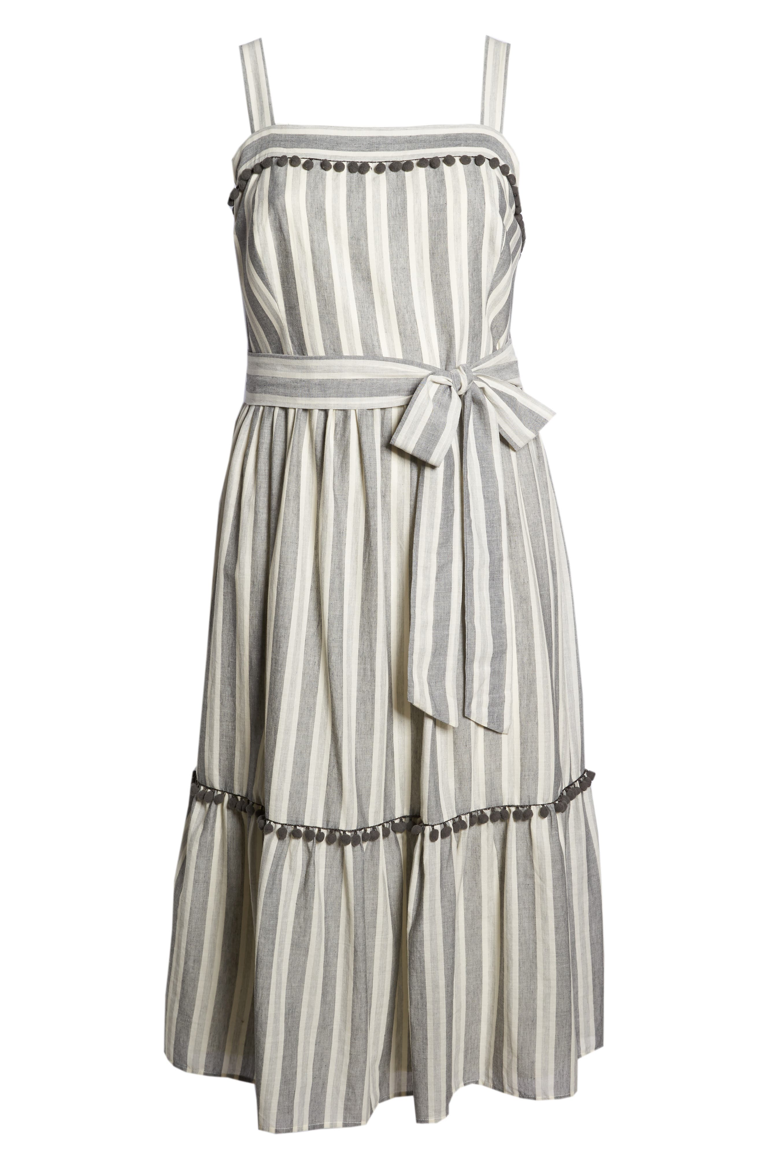 Painted Stripe Ruffle Hem Midi Dress,                             Alternate thumbnail 6, color,                             020