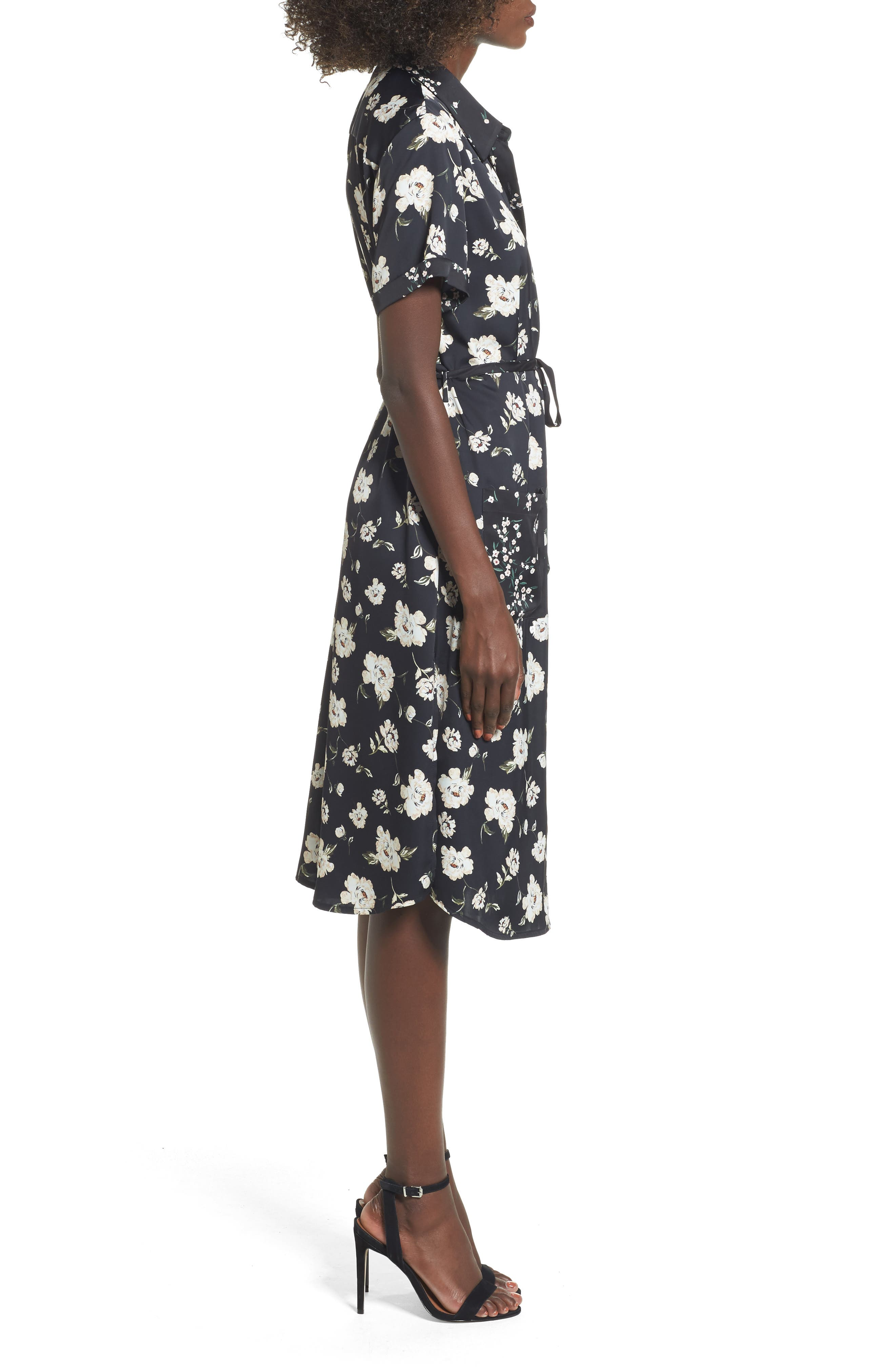 L'Academie The Shirt Dress Midi Dress,                             Alternate thumbnail 3, color,                             001