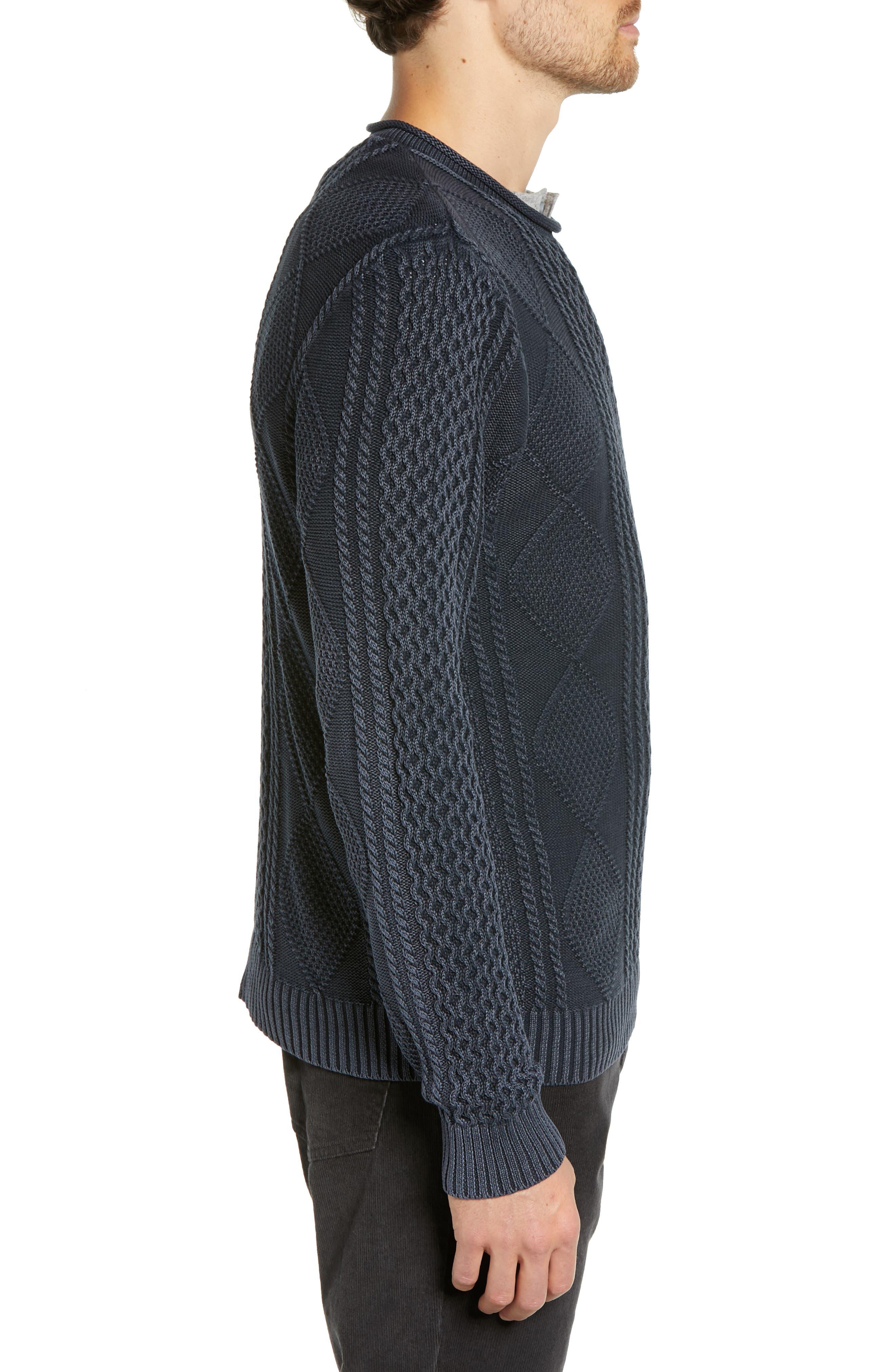 Fisherman Sweater,                             Alternate thumbnail 3, color,                             NAVY IRIS