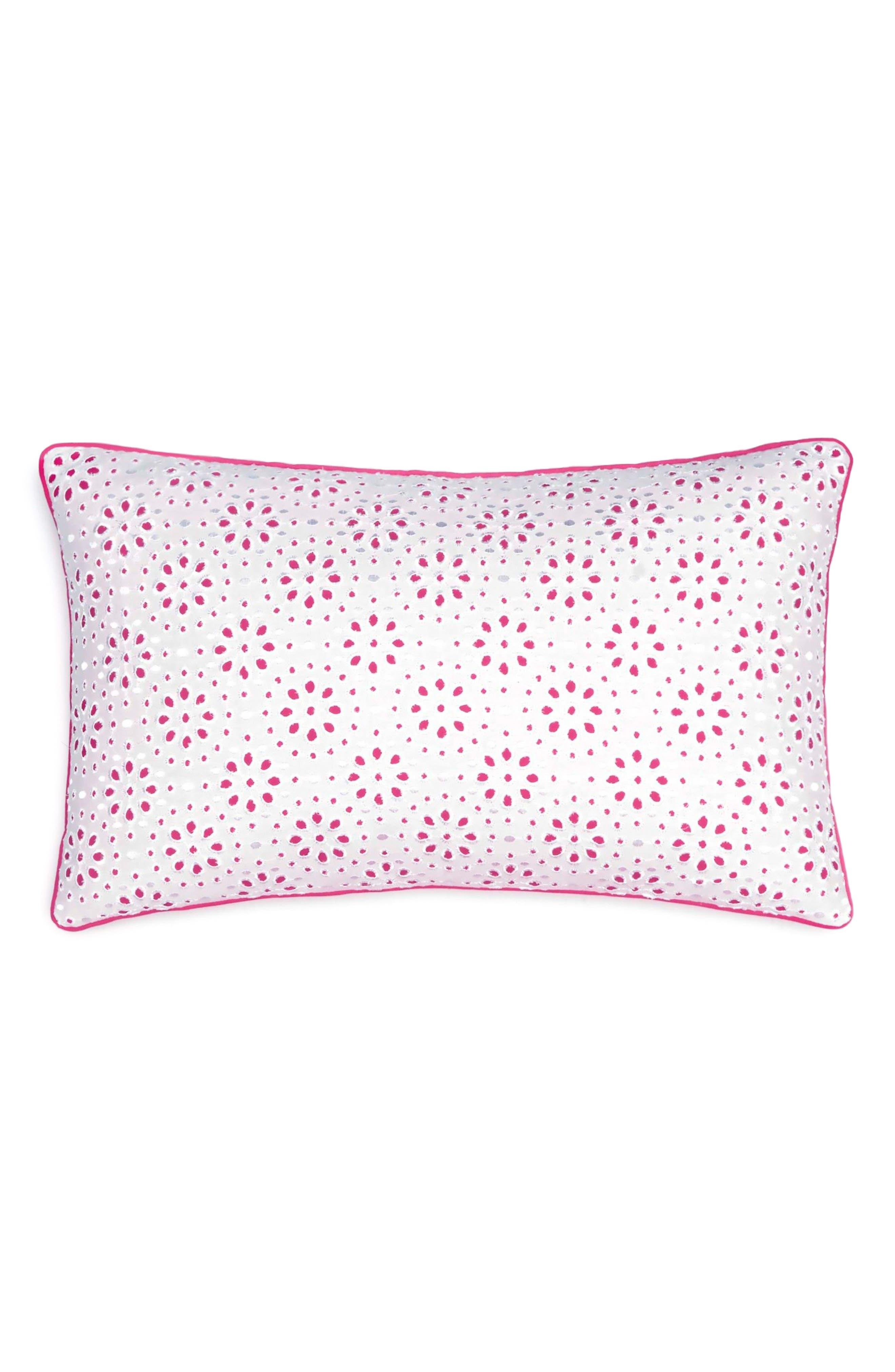 Floral Eyelet Pillow,                             Main thumbnail 1, color,                             PINK