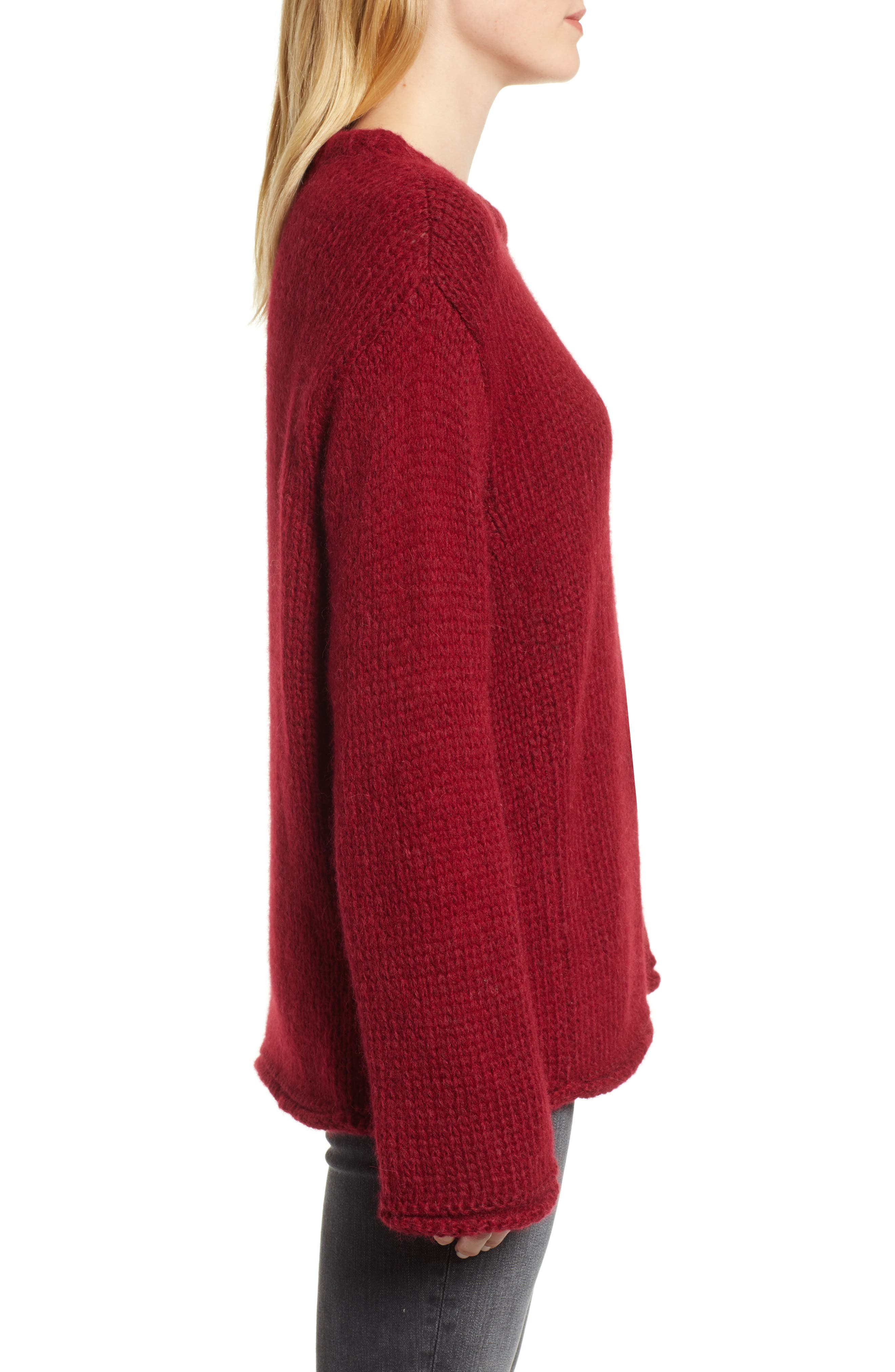 Wool Alpaca Blend Crewneck Sweater,                             Alternate thumbnail 3, color,                             WINE