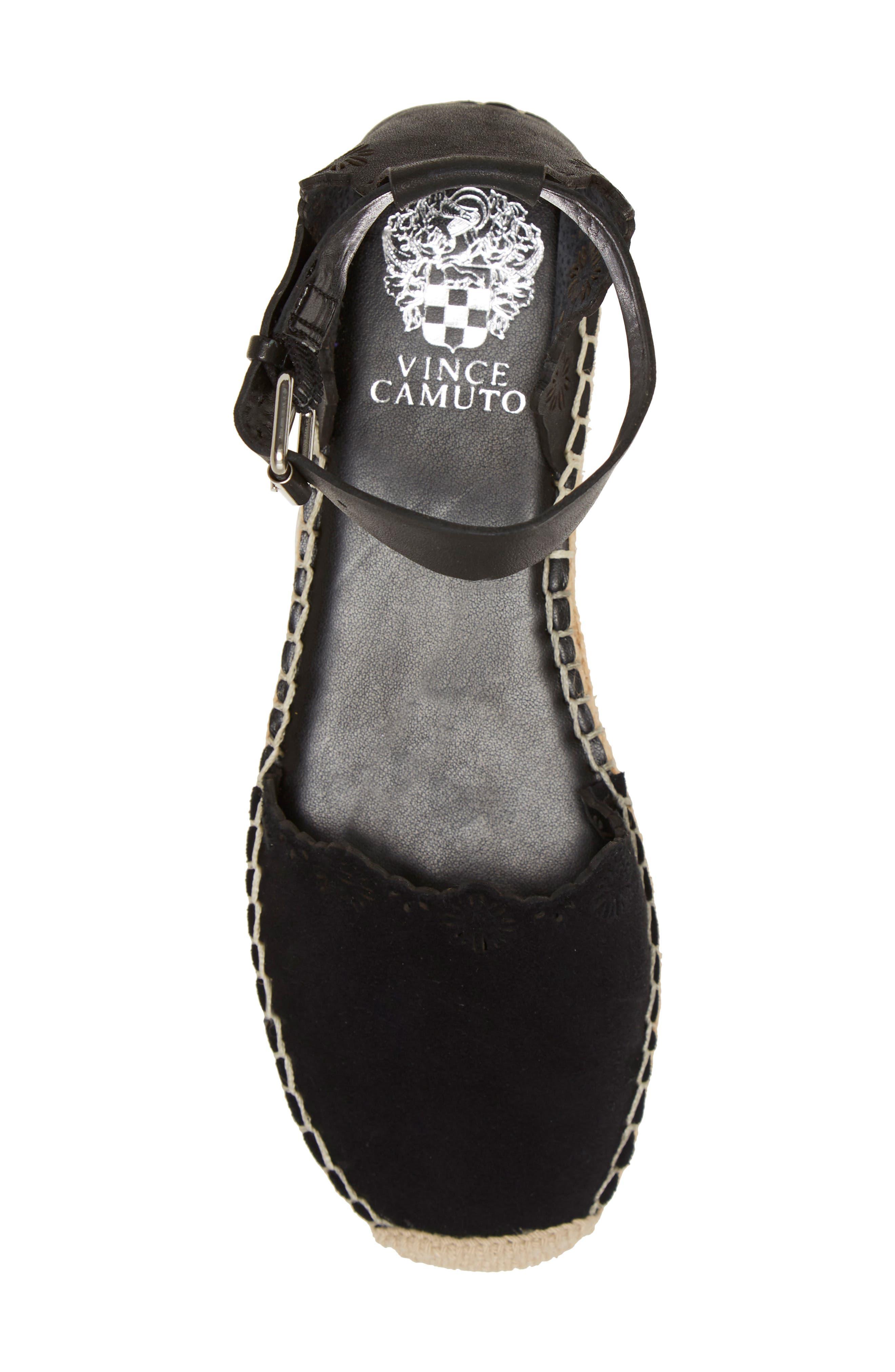 VINCE CAMUTO,                             Breshan Ankle Strap Espadrille Wedge,                             Alternate thumbnail 5, color,                             BLACK SUEDE